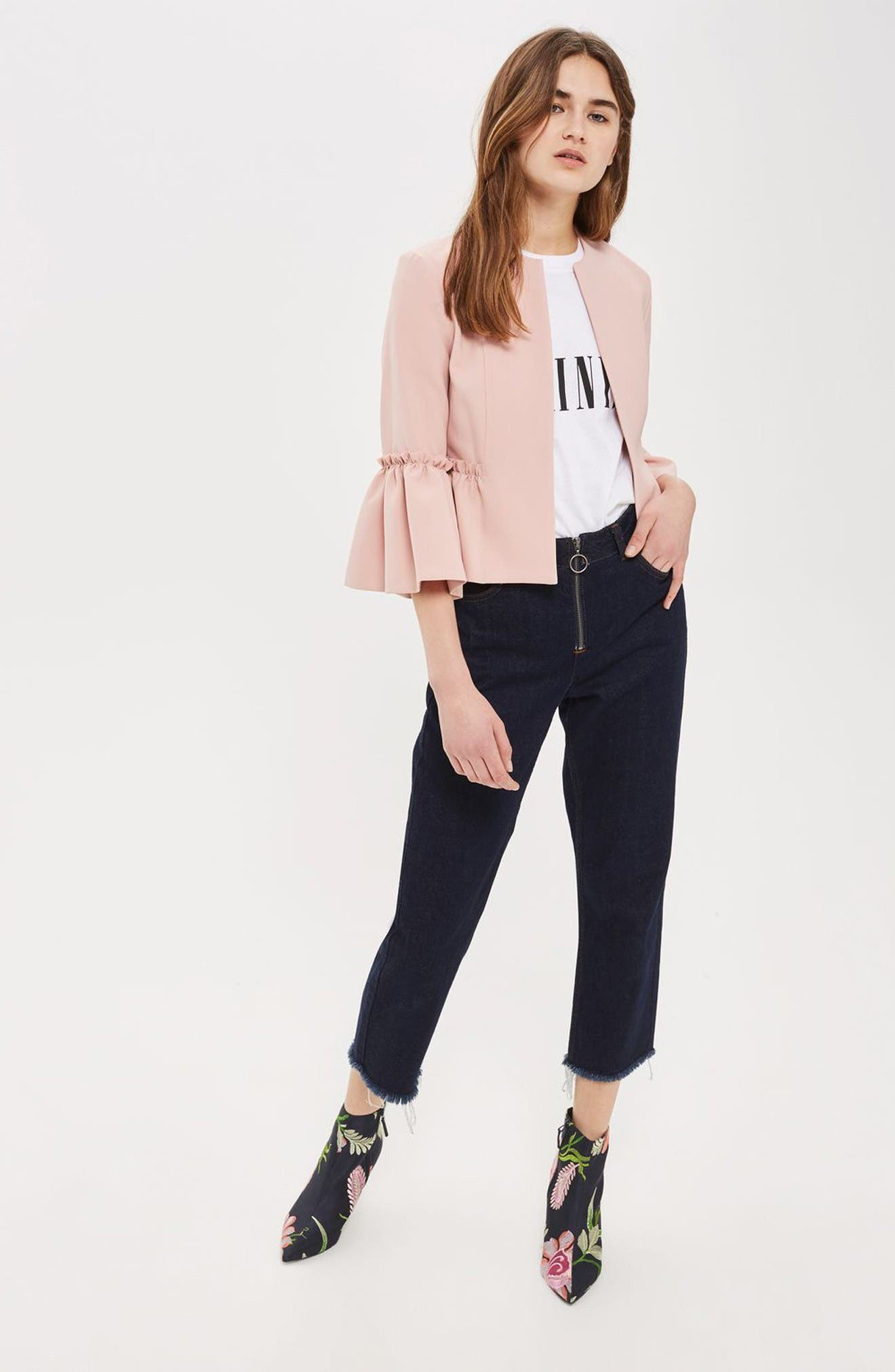 Ruffle Crop Jacket,                             Alternate thumbnail 2, color,                             Blush