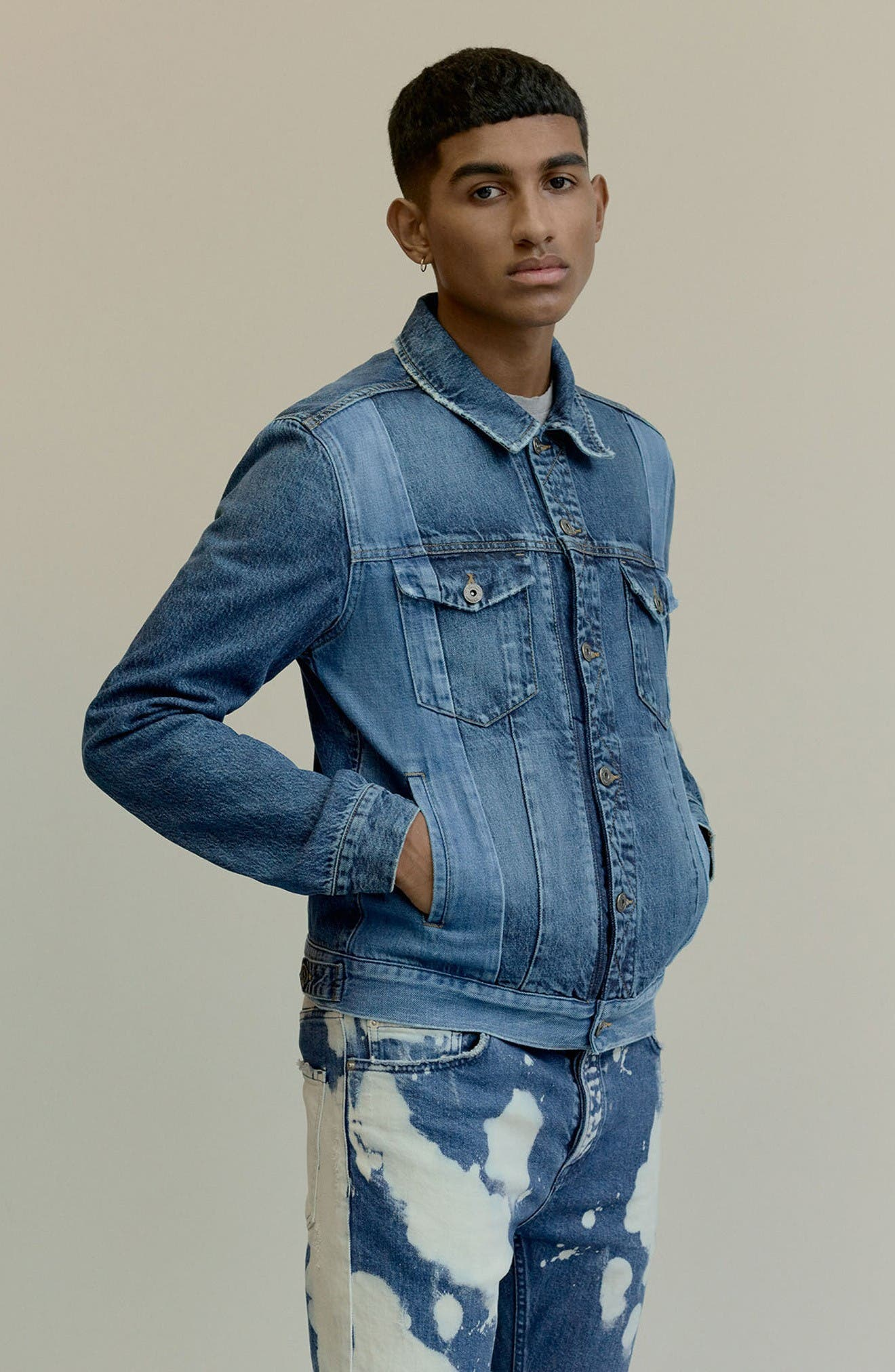 Alternate Image 6  - Topman Two-Tone Denim Jacket