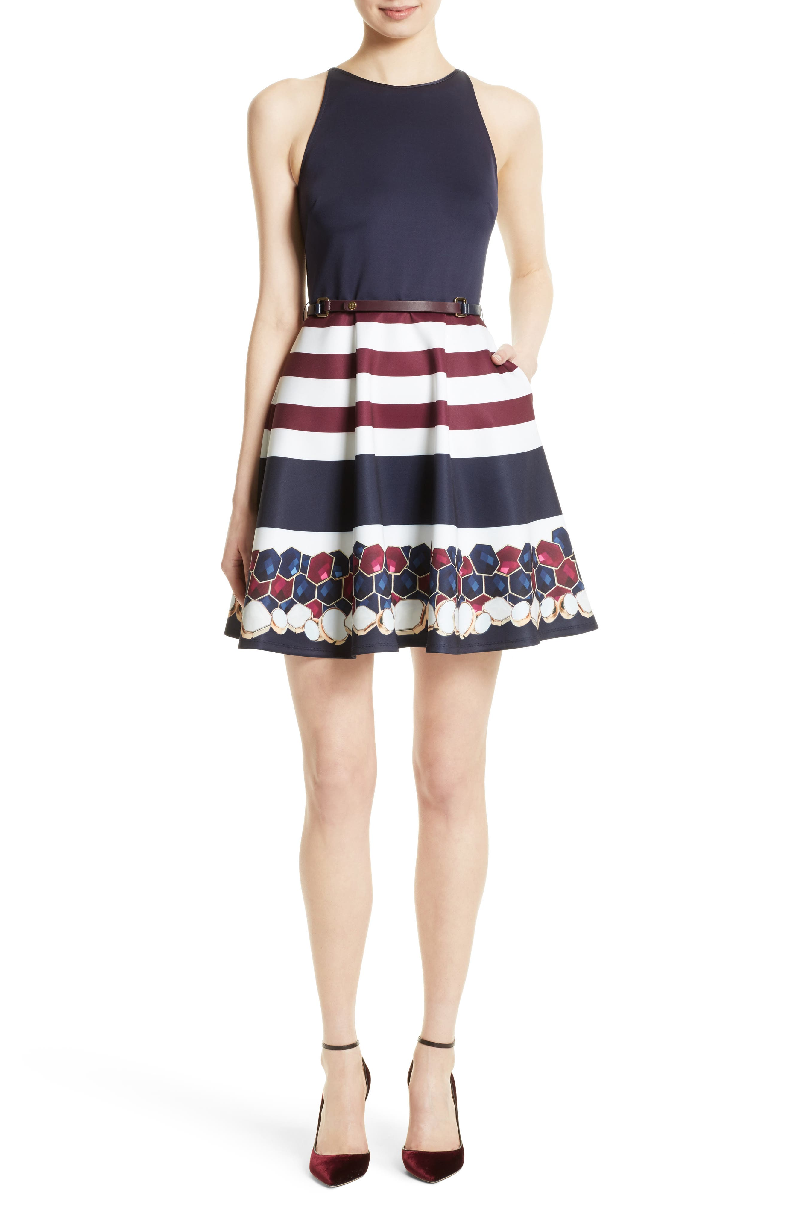 Rowing Stripe Skater Dress,                         Main,                         color, Navy