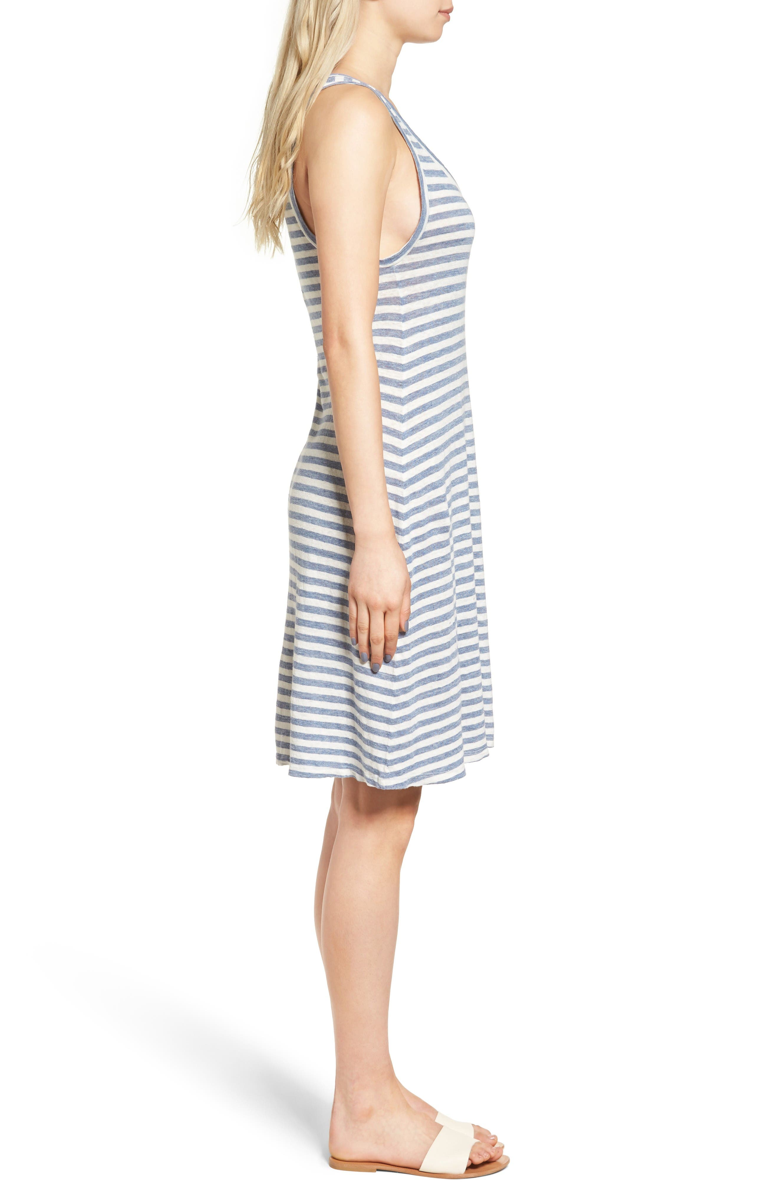 Avril Linen Tank Dress,                             Alternate thumbnail 3, color,                             Heather Blue/ Powder White