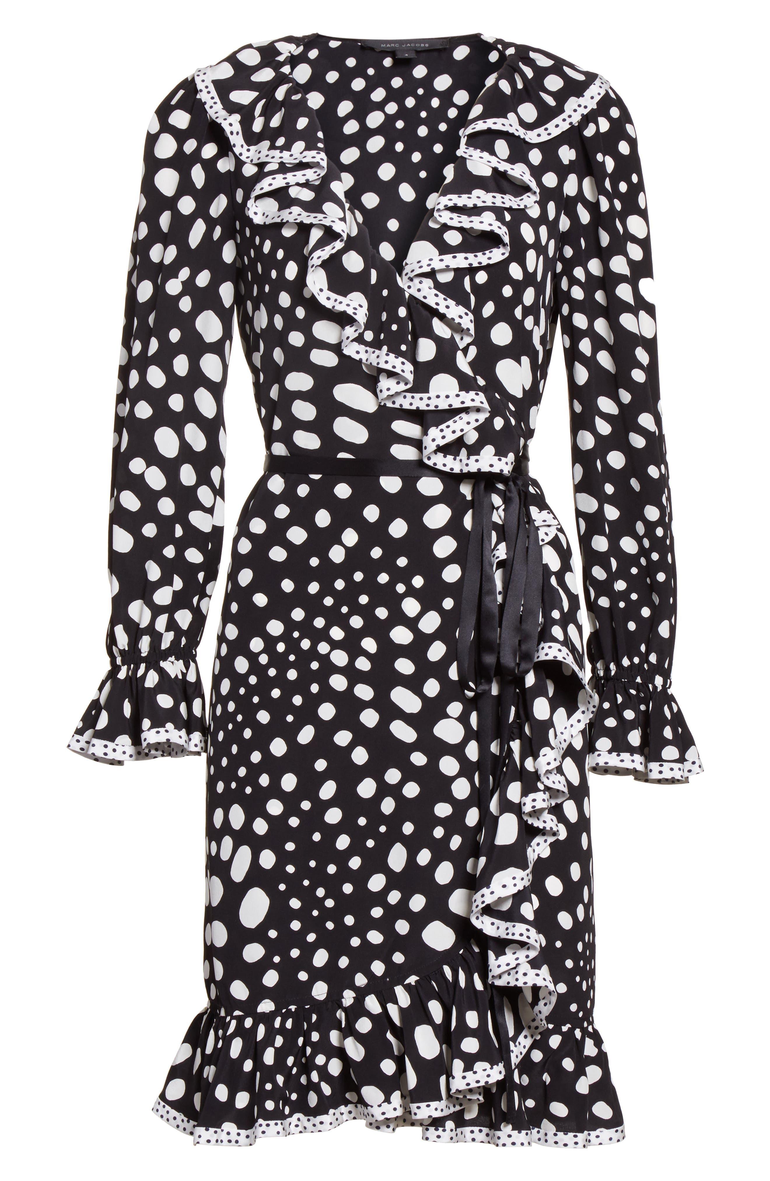 Polka Dot Ruffle Silk Wrap Dress,                             Alternate thumbnail 7, color,                             Black/ White