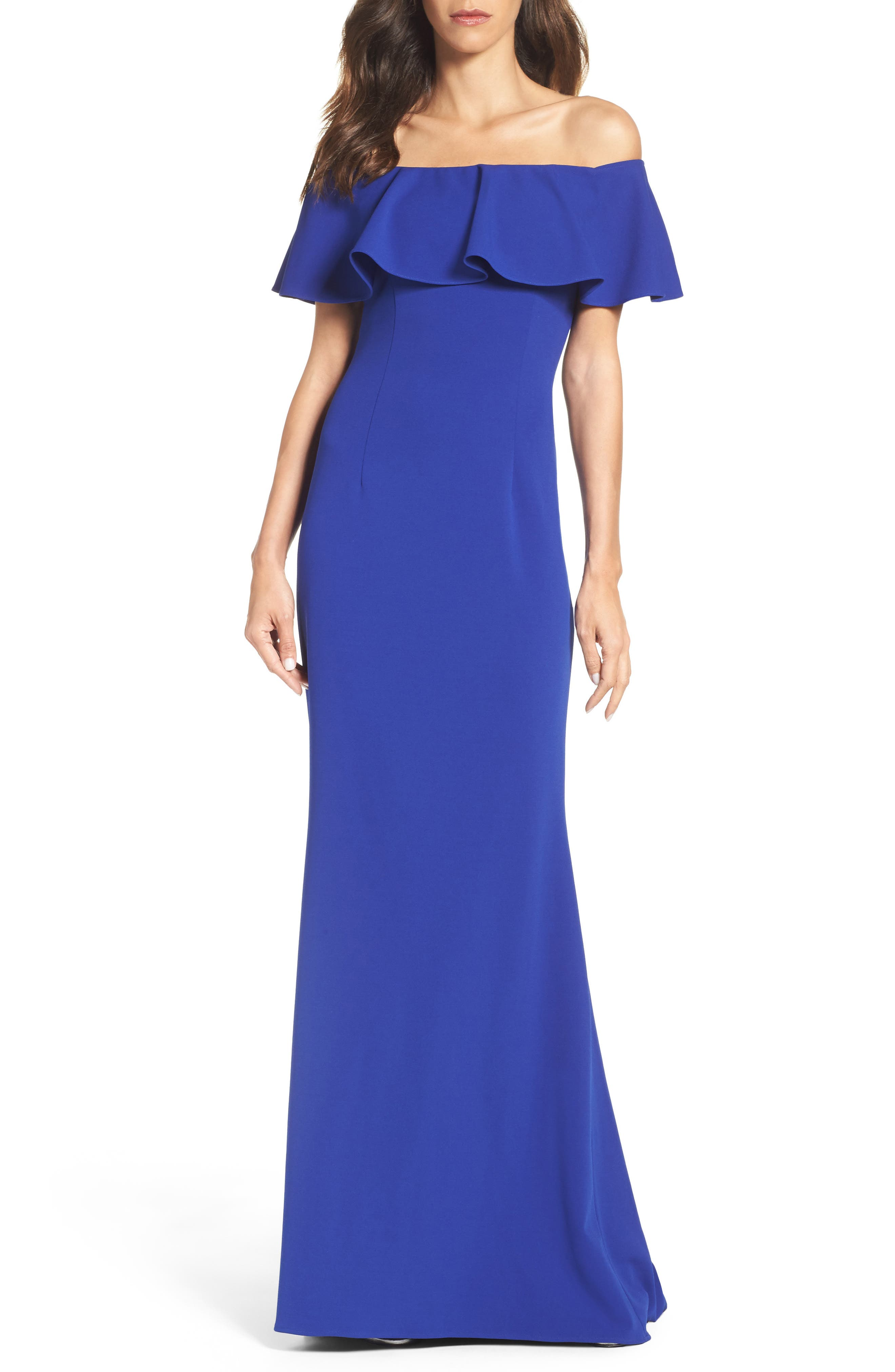 Off the Shoulder Gown,                         Main,                         color, Neptune