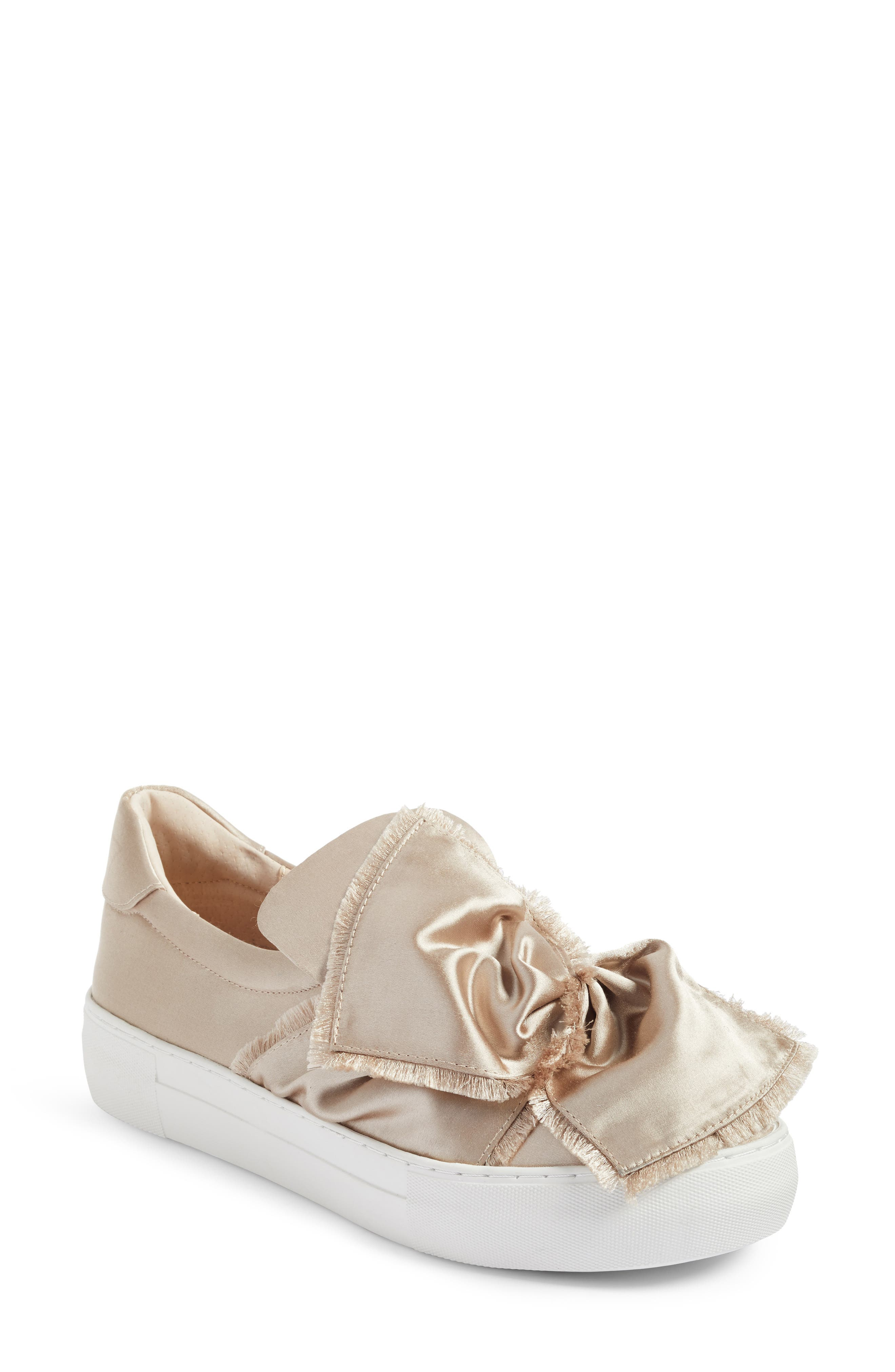 Azzura Bow Slip-On Sneaker,                             Main thumbnail 1, color,                             Champagne Fabric