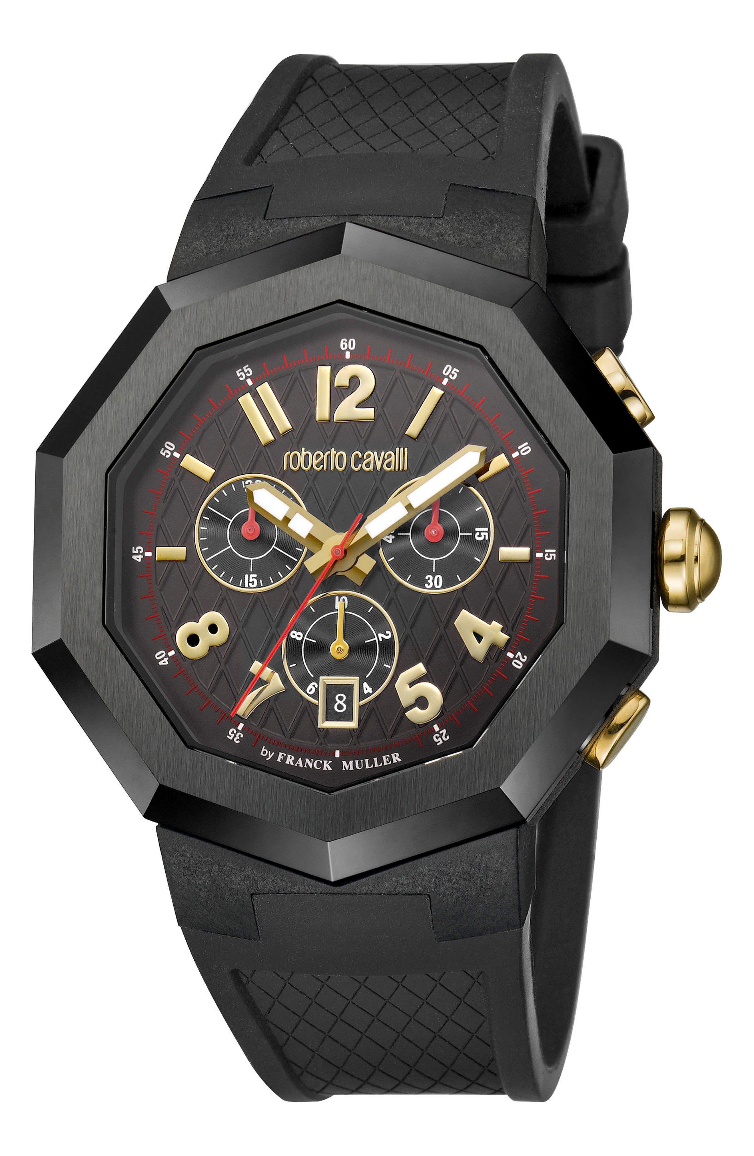 Chronograph Rubber Strap Watch, 45mm,                             Main thumbnail 1, color,                             Black