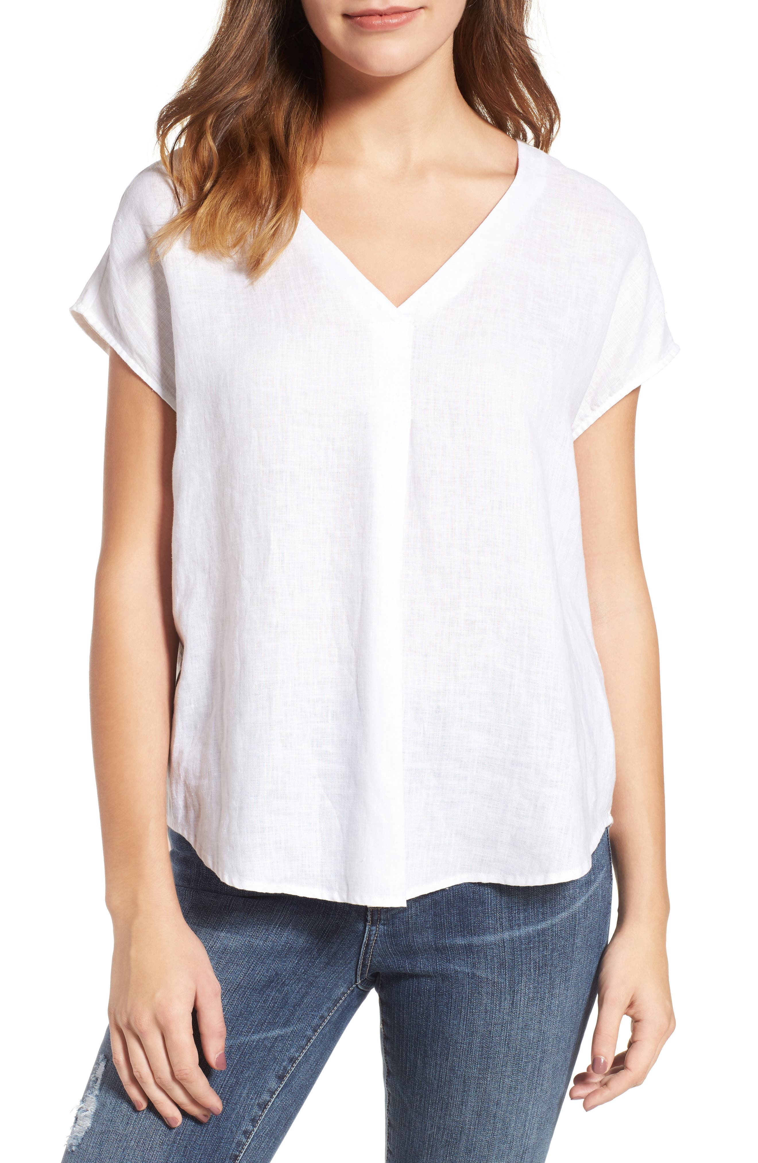 Two by Vince Camuto Linen V-Neck Blouse