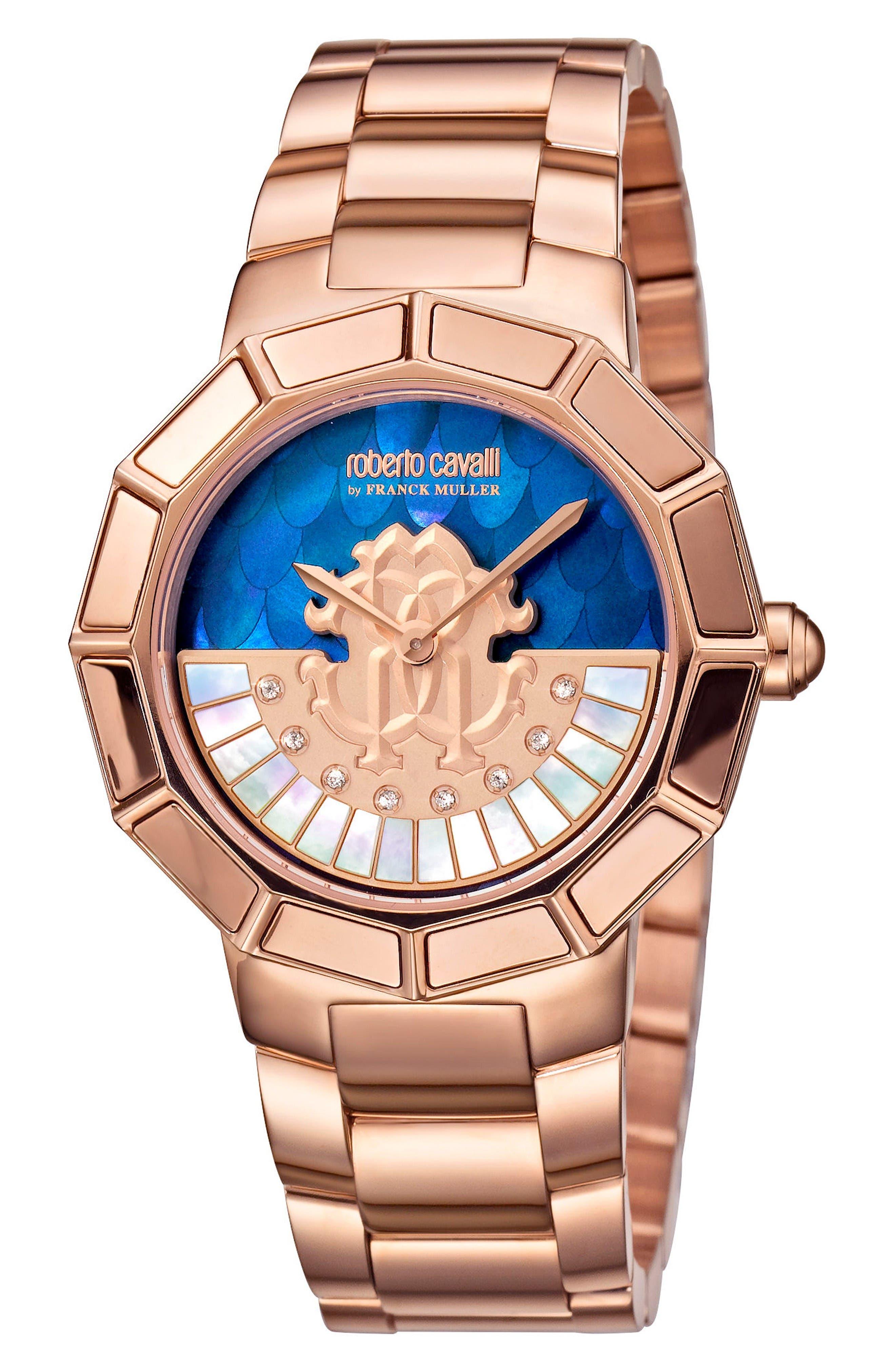 Rotating Dial Bracelet Watch, 37mm,                         Main,                         color, Rose Gold/ Blue Mop/ Rose Gold