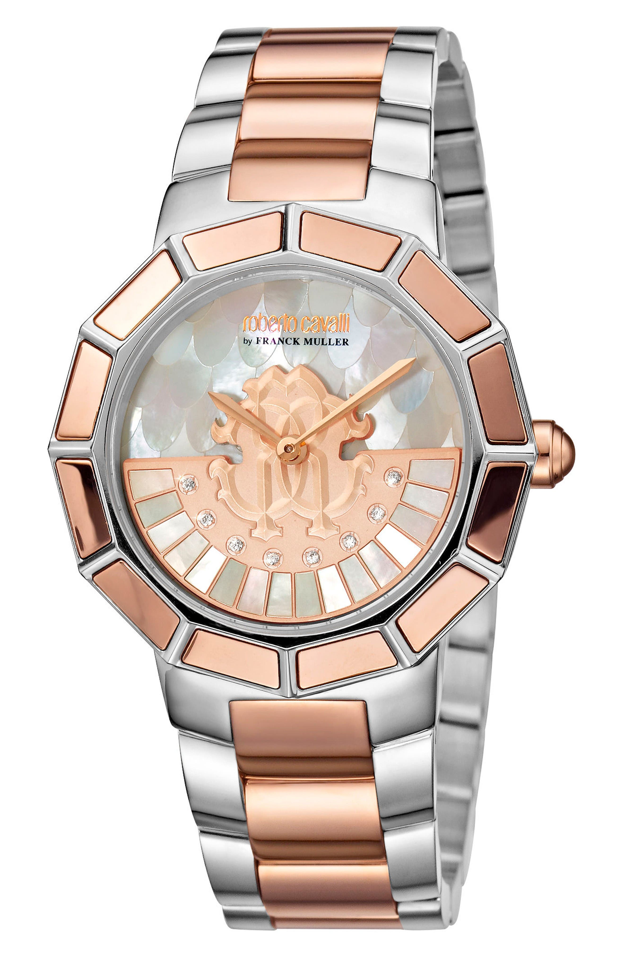 Rotating Dial Bracelet Watch, 37mm,                         Main,                         color, Silver/ White Mop/ Rose Gold