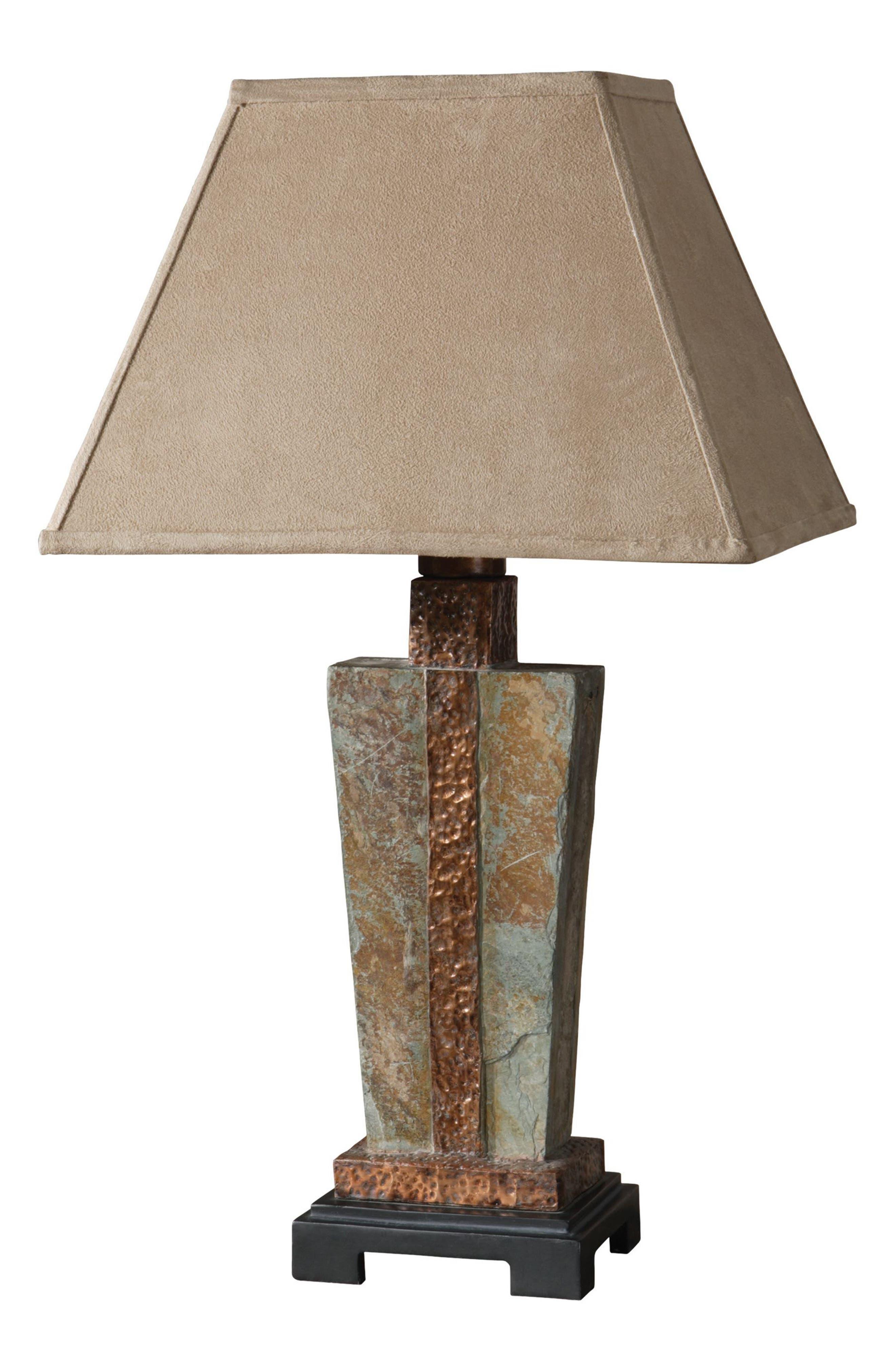 Slate Table Lamp,                         Main,                         color, Metallic Rust/ Copper