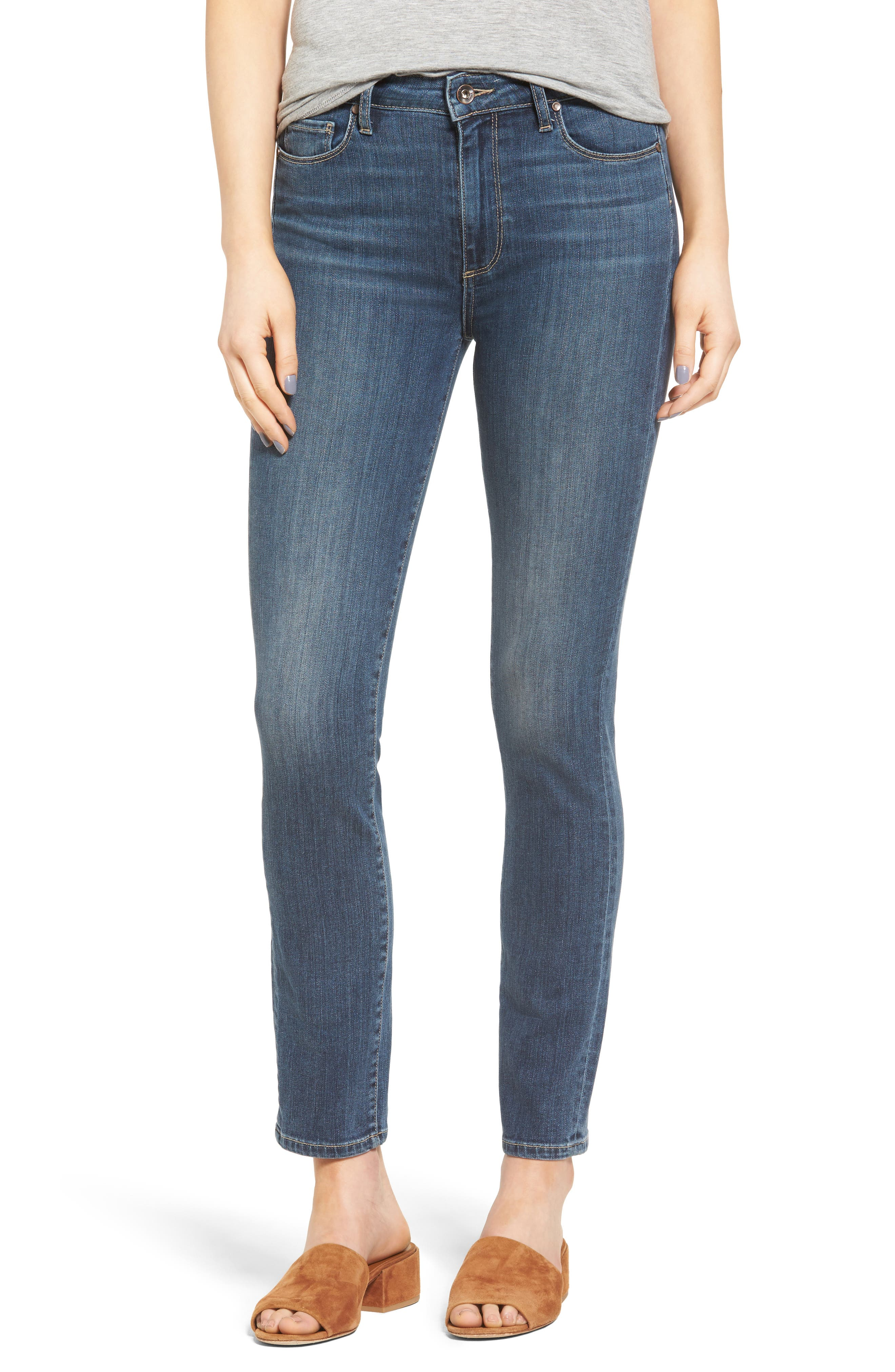 Main Image - PAIGE River High Waist Ankle Peg Straight Leg Jeans (Izzy Distressed)