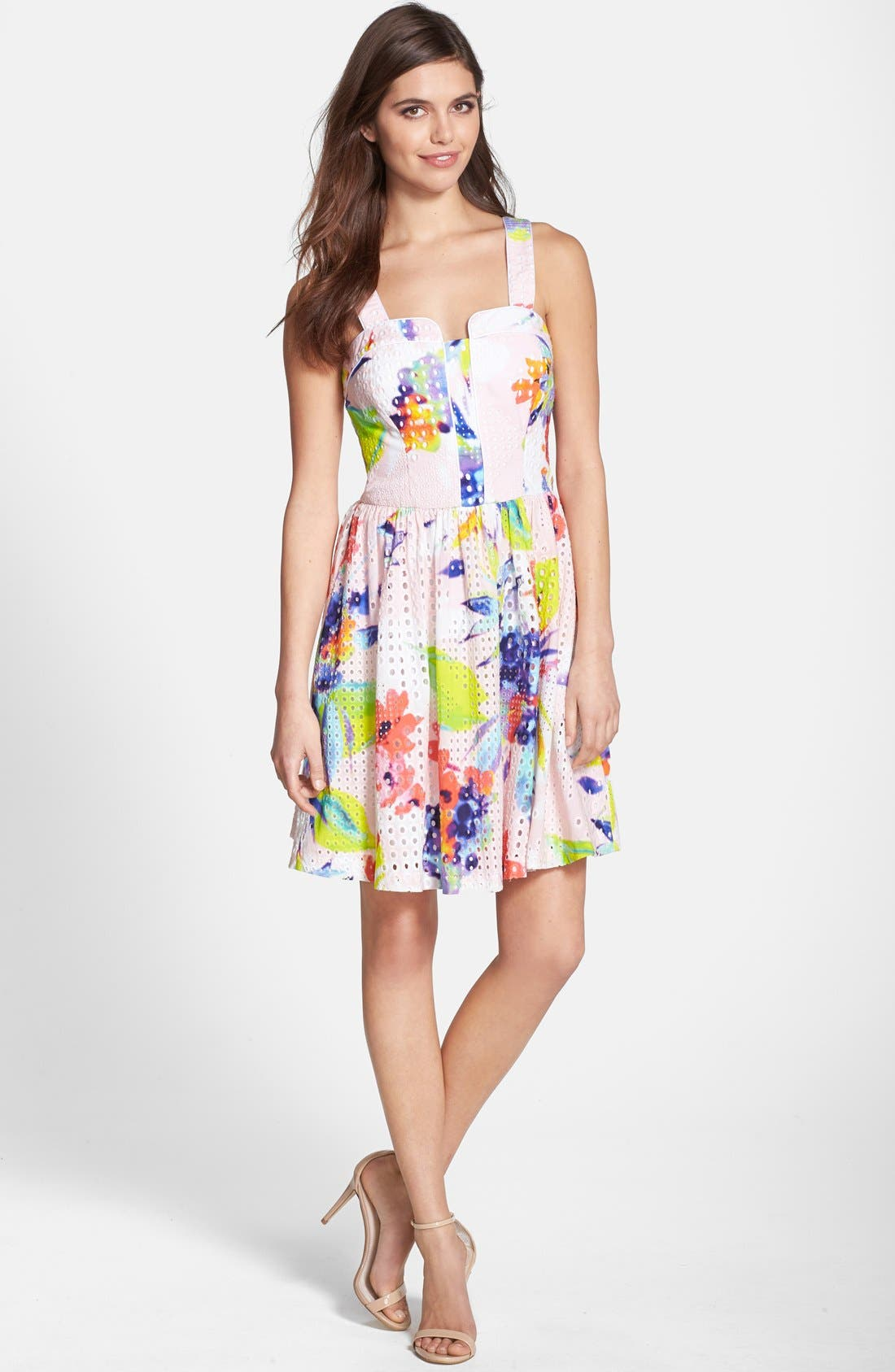 Alternate Image 3  - Trina Turk 'Elin' Print Cotton Eyelet Fit & Flare Dress