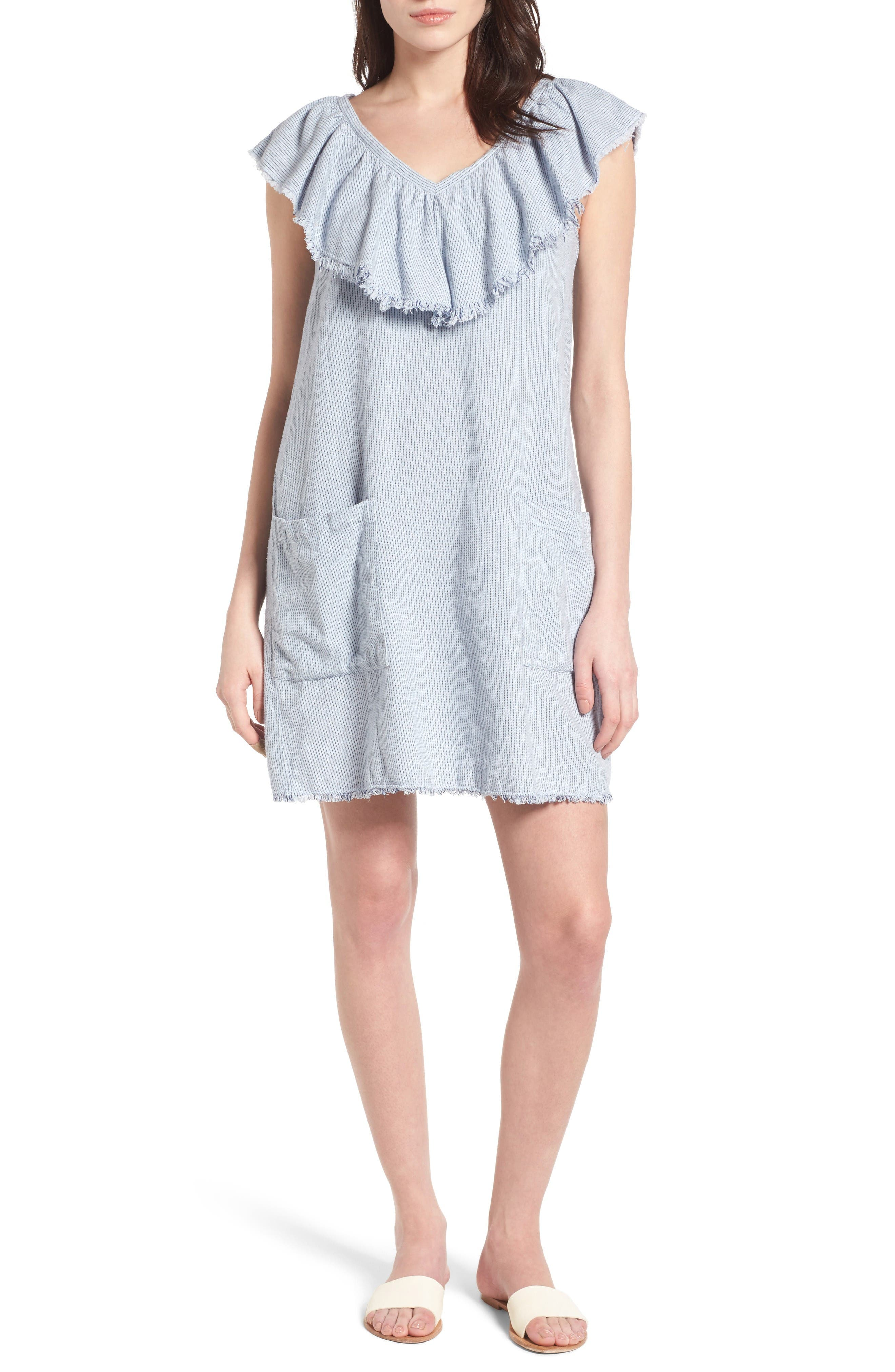 VELVET BY GRAHAM & SPENCER Ruffle Trim Shift Dress