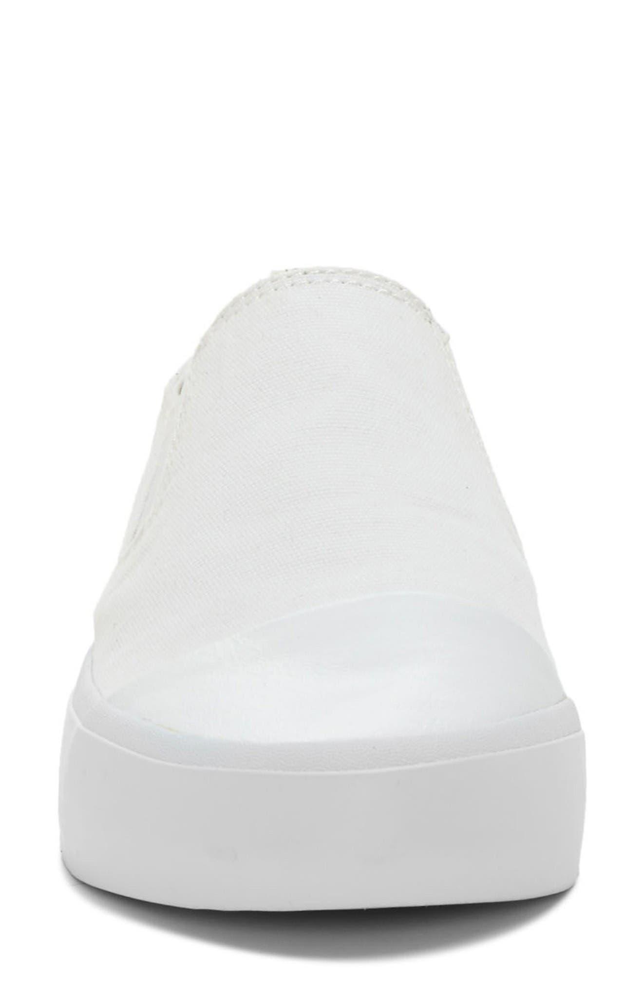 Darja Slip-On Sneaker,                             Alternate thumbnail 3, color,                             Pure White Fabric