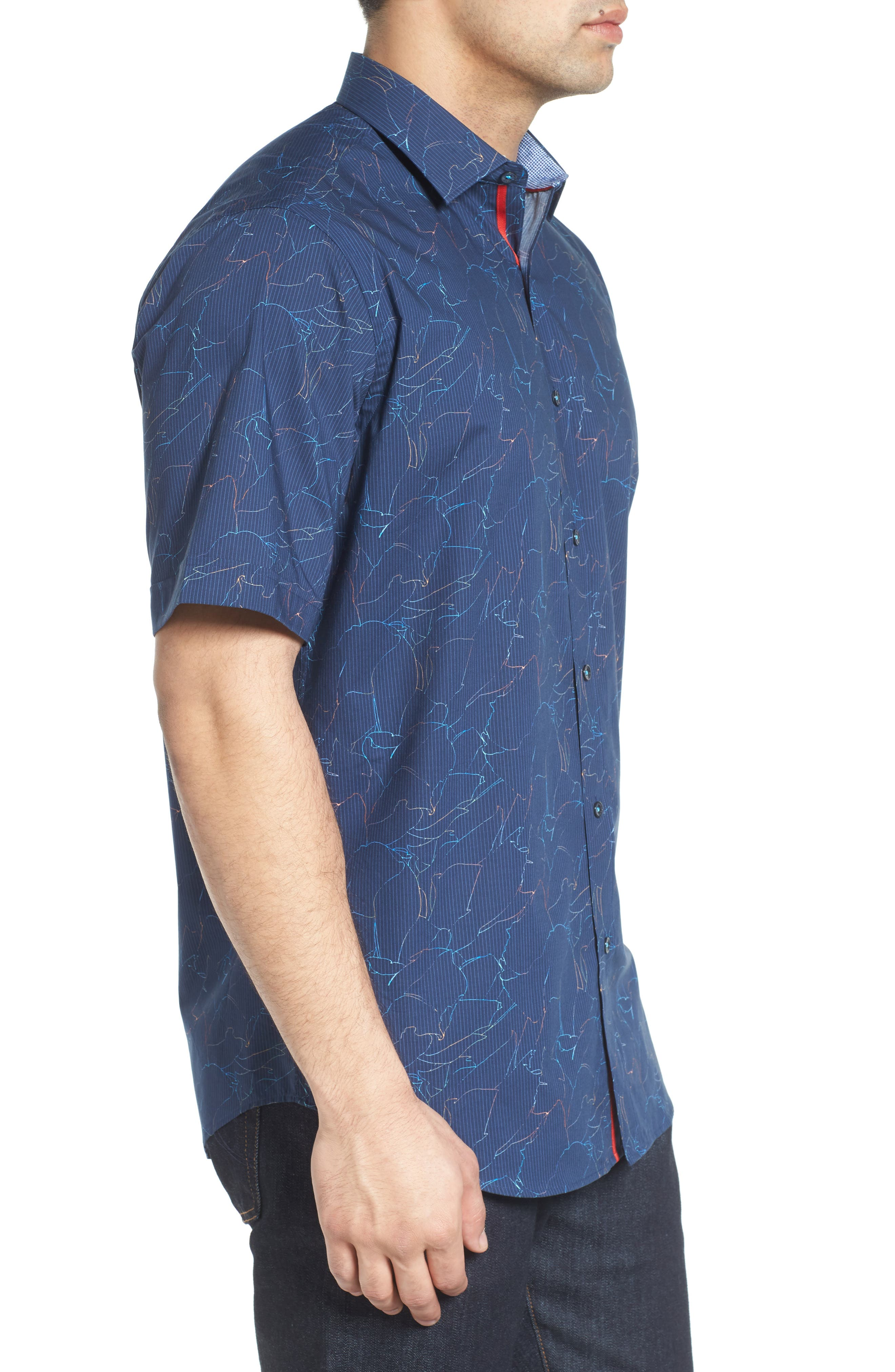 Classic Fit Crackle Stripe Sport Shirt,                             Alternate thumbnail 3, color,                             Midnight