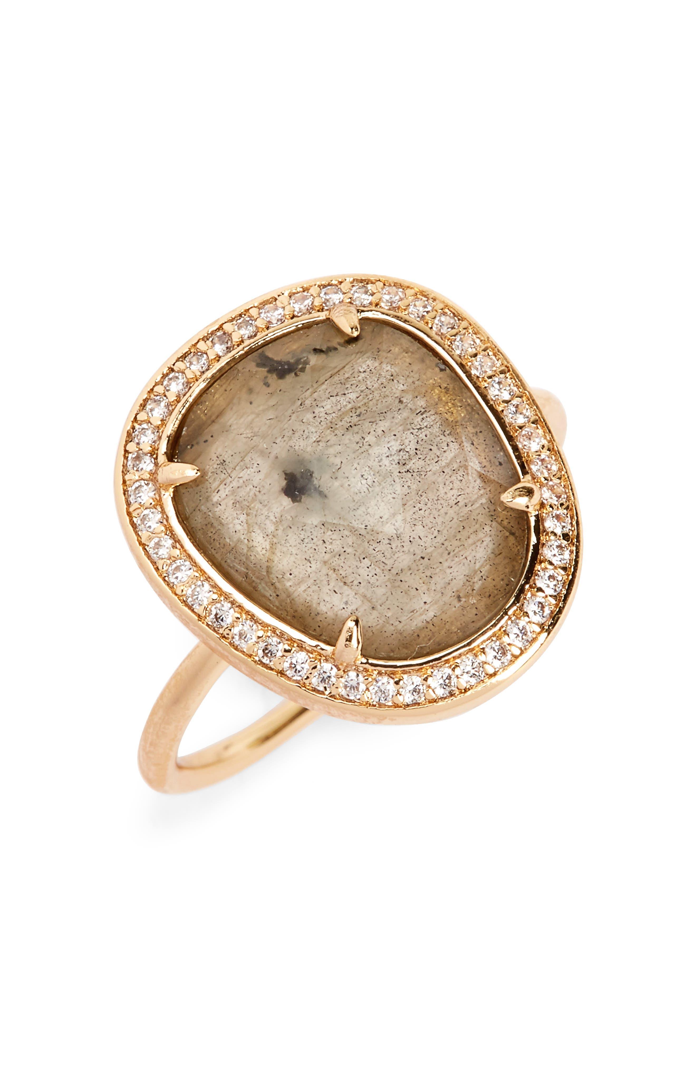 Stone Ring,                         Main,                         color, Labradorite/ Gold