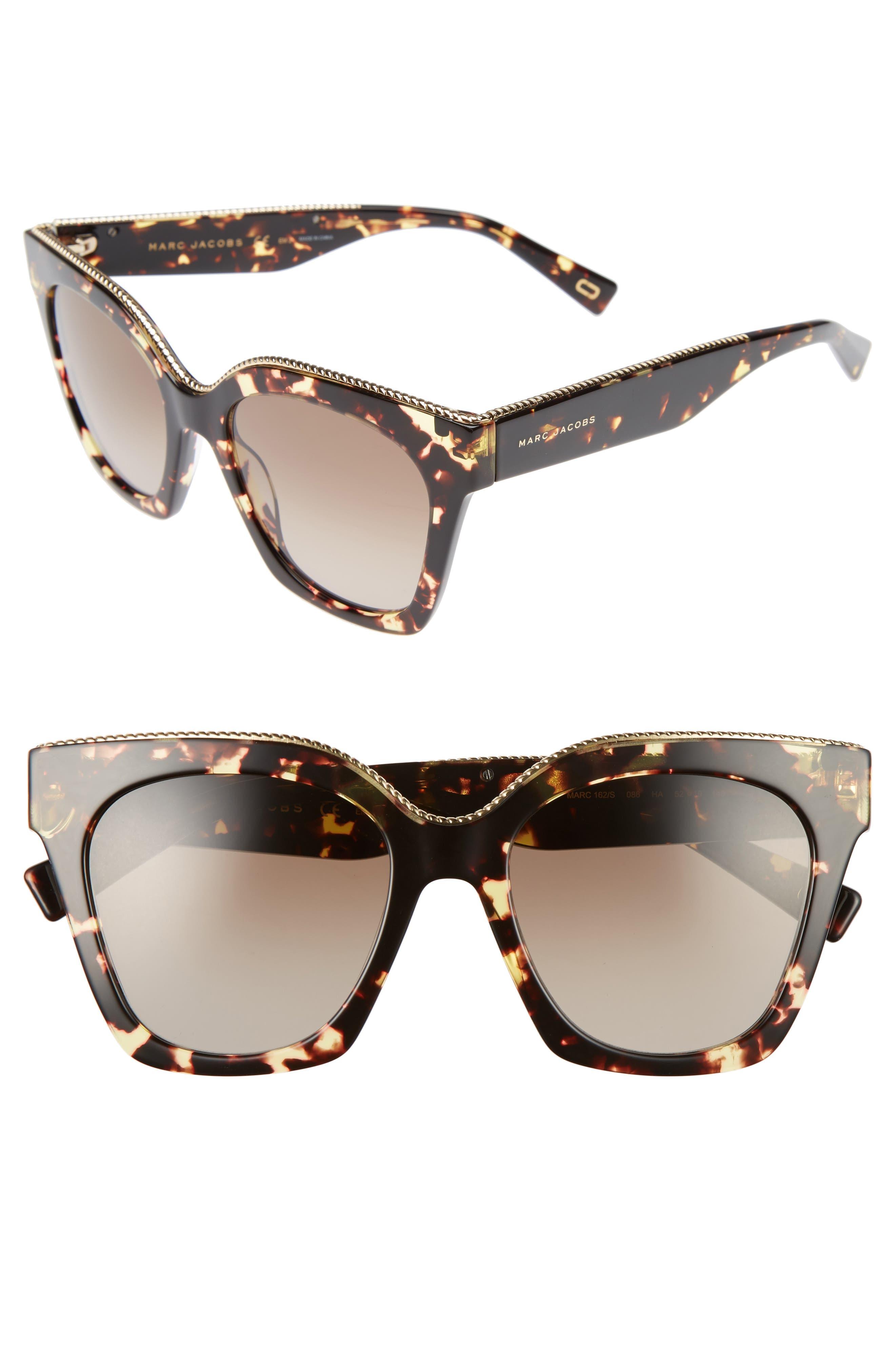 52mm Square Sunglasses,                         Main,                         color, Dark Havana