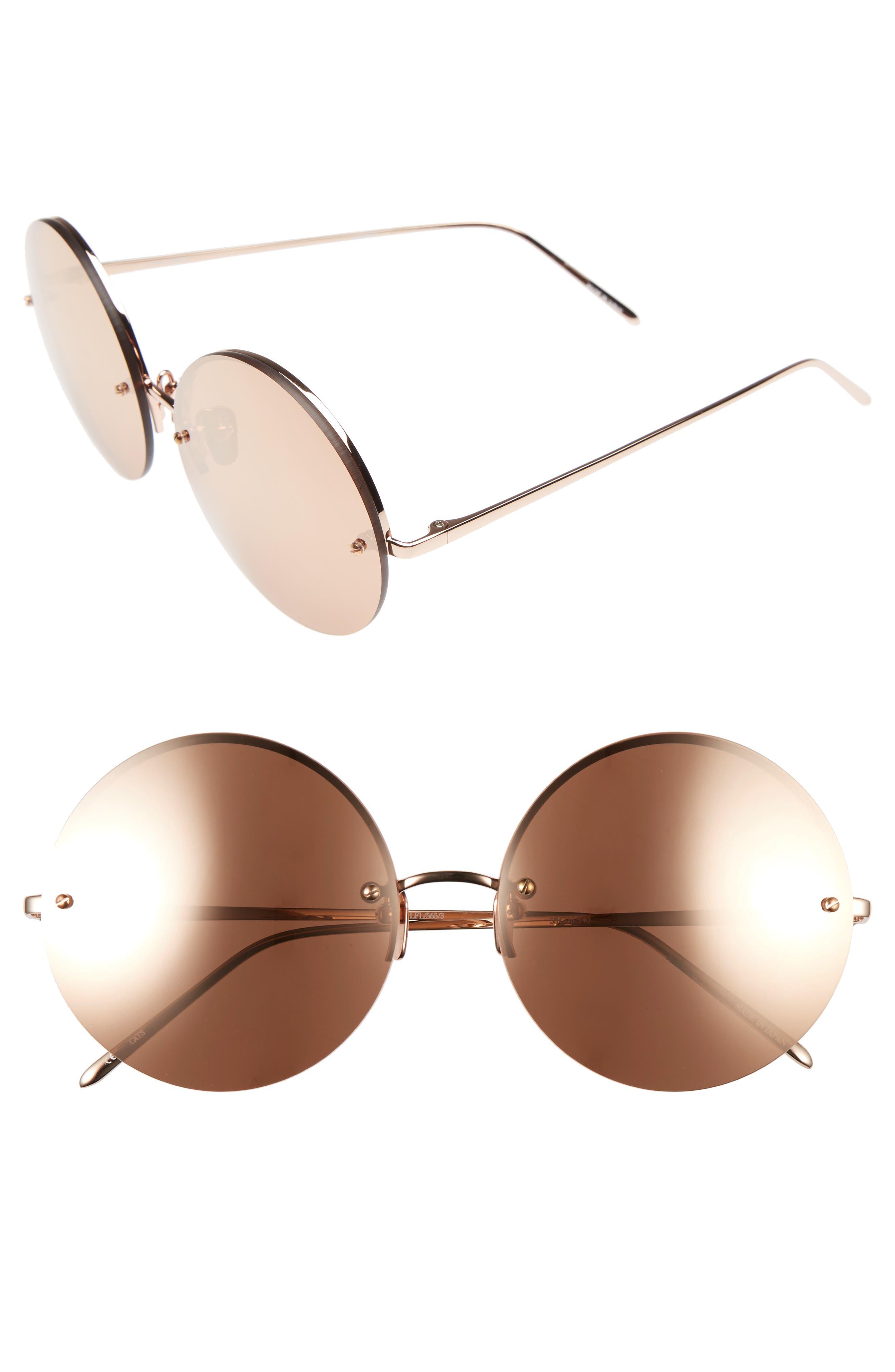 Linda Farrow 58mm 22 Karat Gold Trim Rimless Round Sunglasses