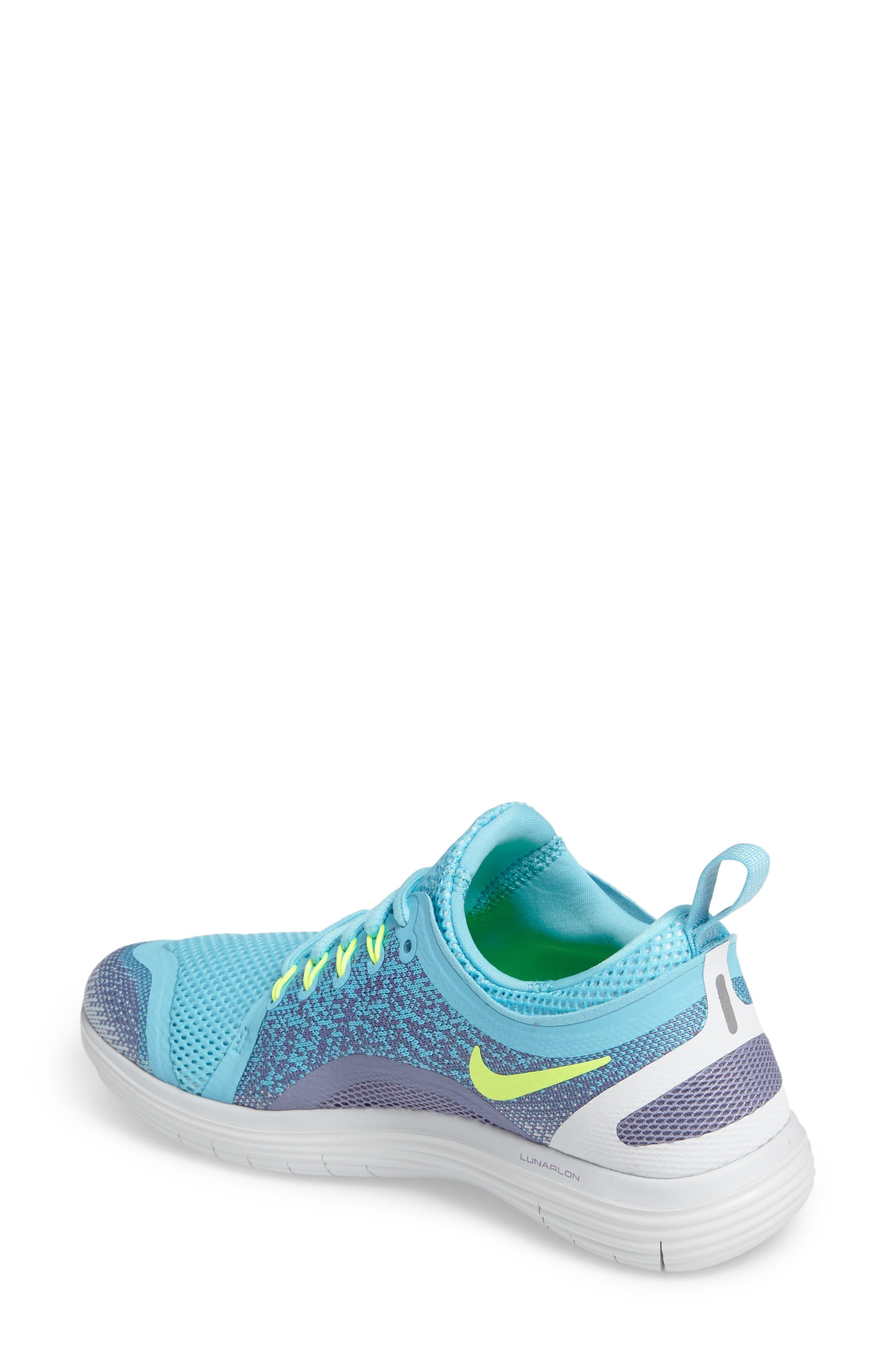Free Run Distance 2 Running Shoe,                             Alternate thumbnail 2, color,                             Polarized Blue/ Volt/ Purple