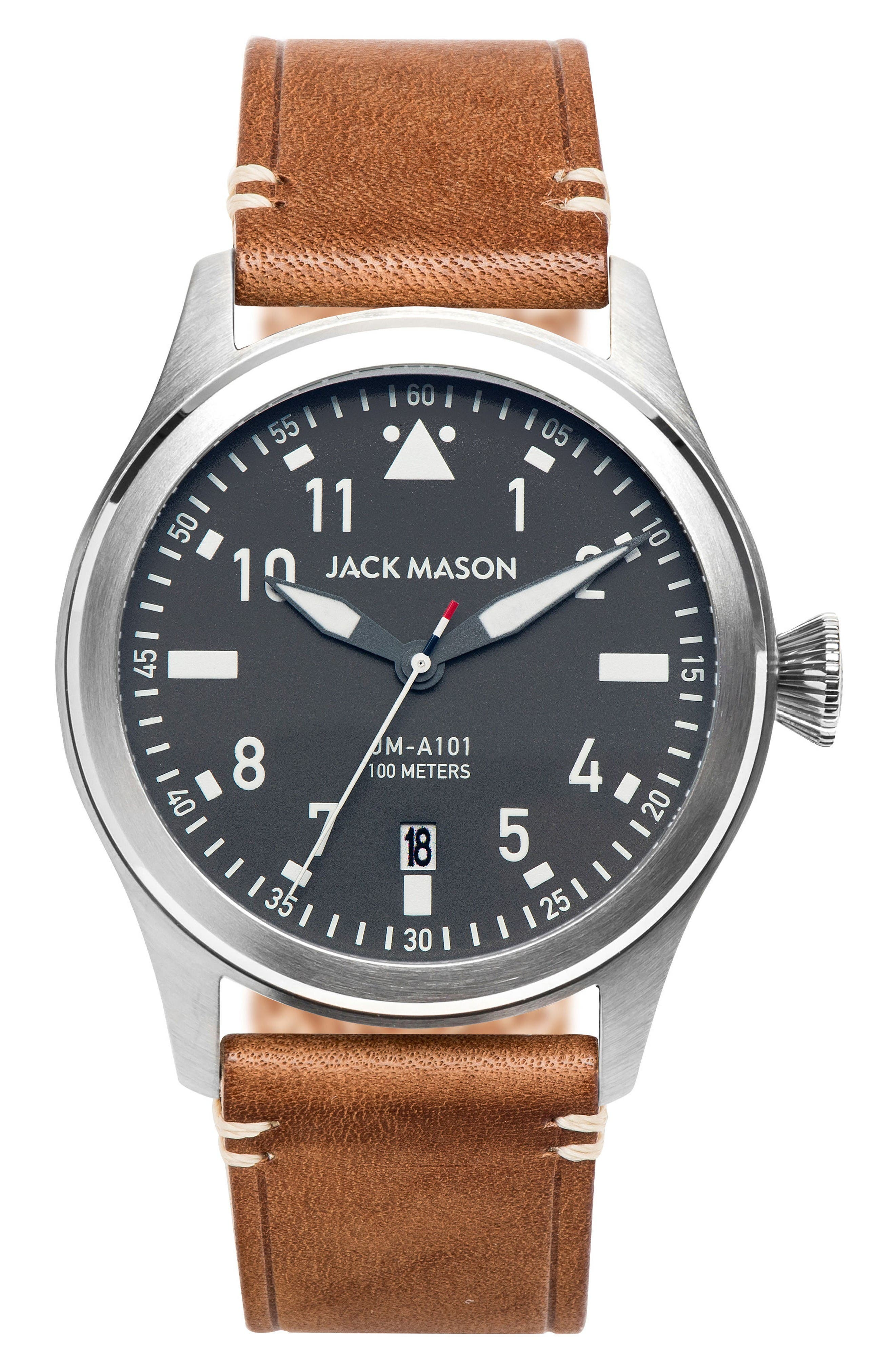 Aviation Leather Strap Watch, 42mm,                         Main,                         color, Grey/ Tan