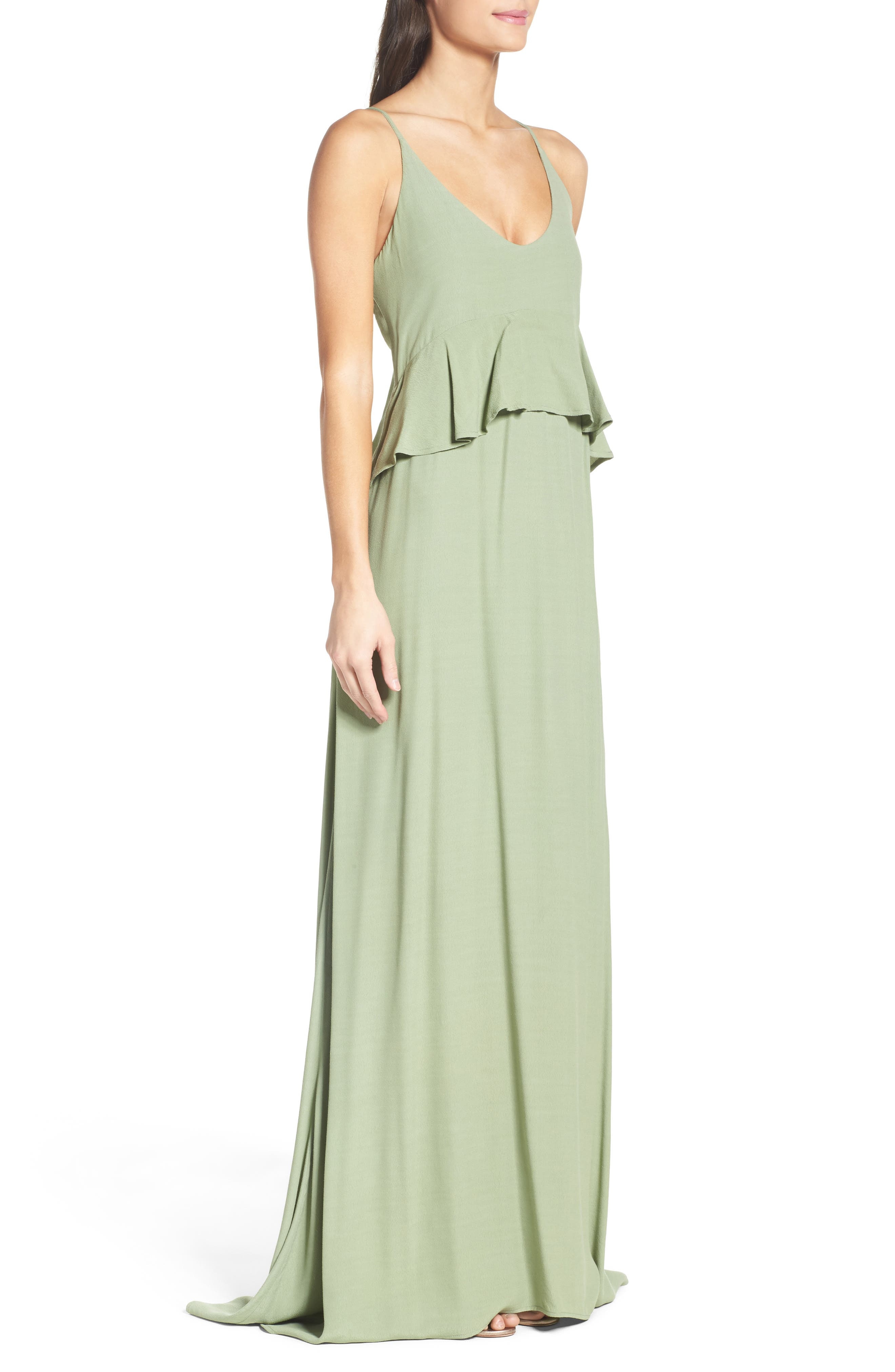 Roe + May Jolie Crepe Peplum Dress,                             Alternate thumbnail 3, color,                             Sage