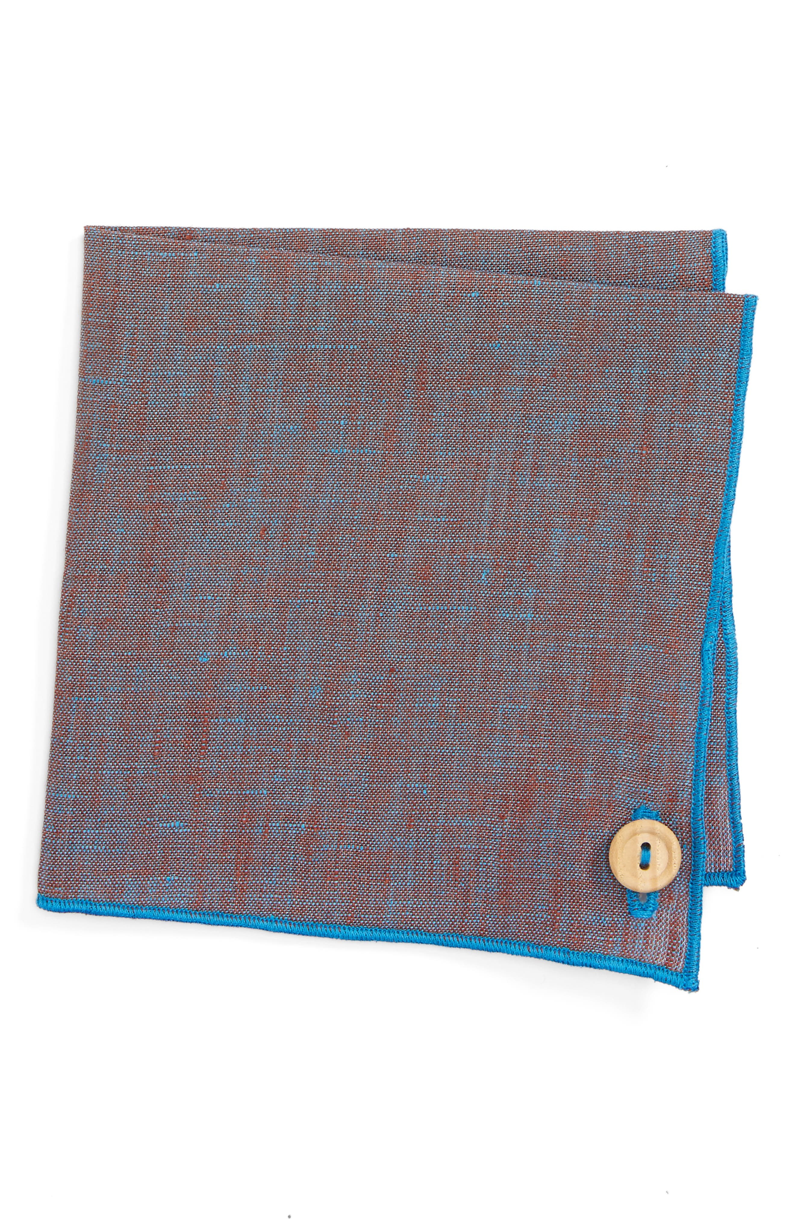 Iridescent Glass Linen Pocket Square,                         Main,                         color, Teal