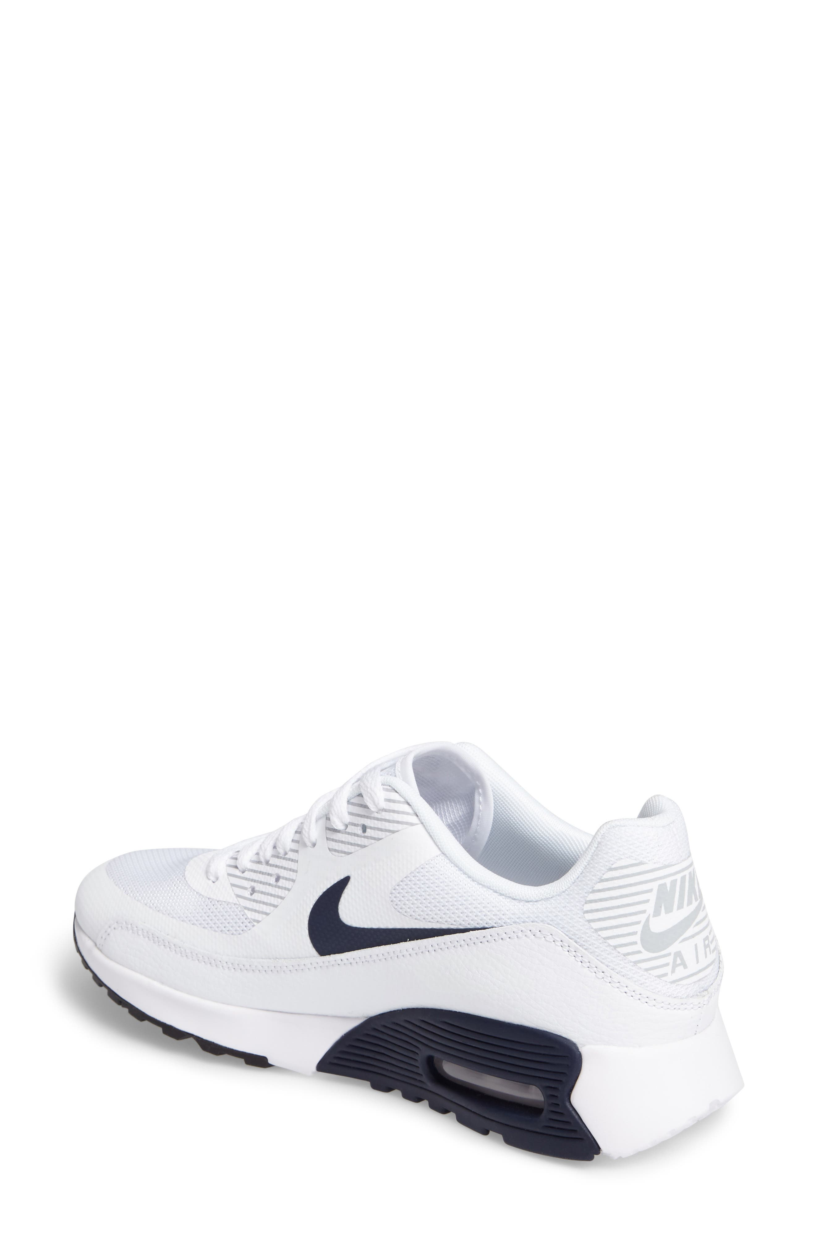 Air Max 90 Ultra 2.0 Sneaker,                             Alternate thumbnail 2, color,                             White/ Navy/ Wolf Grey/ Black