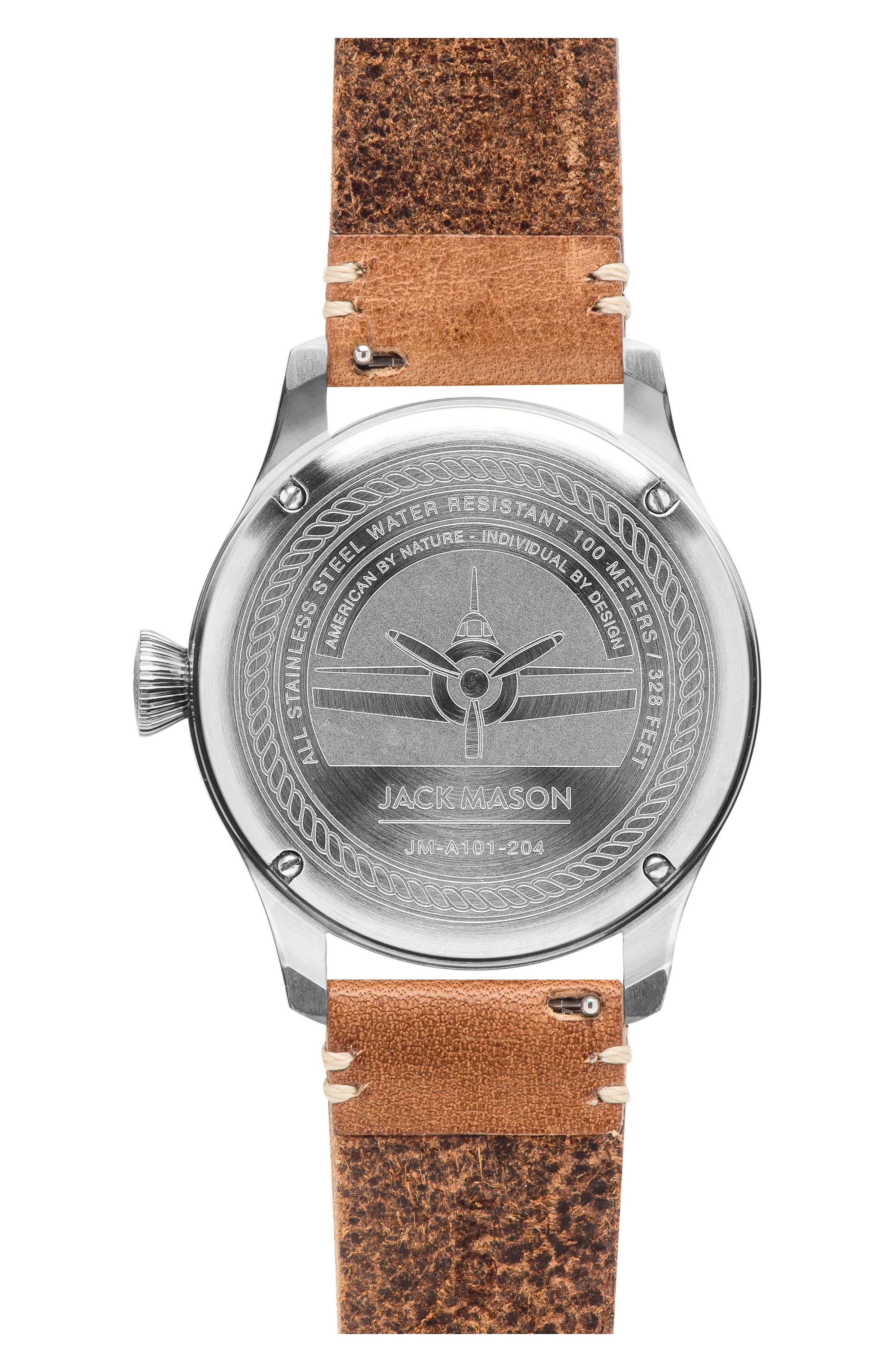 Aviation Leather Strap Watch, 42mm,                             Alternate thumbnail 2, color,                             Grey/ Tan