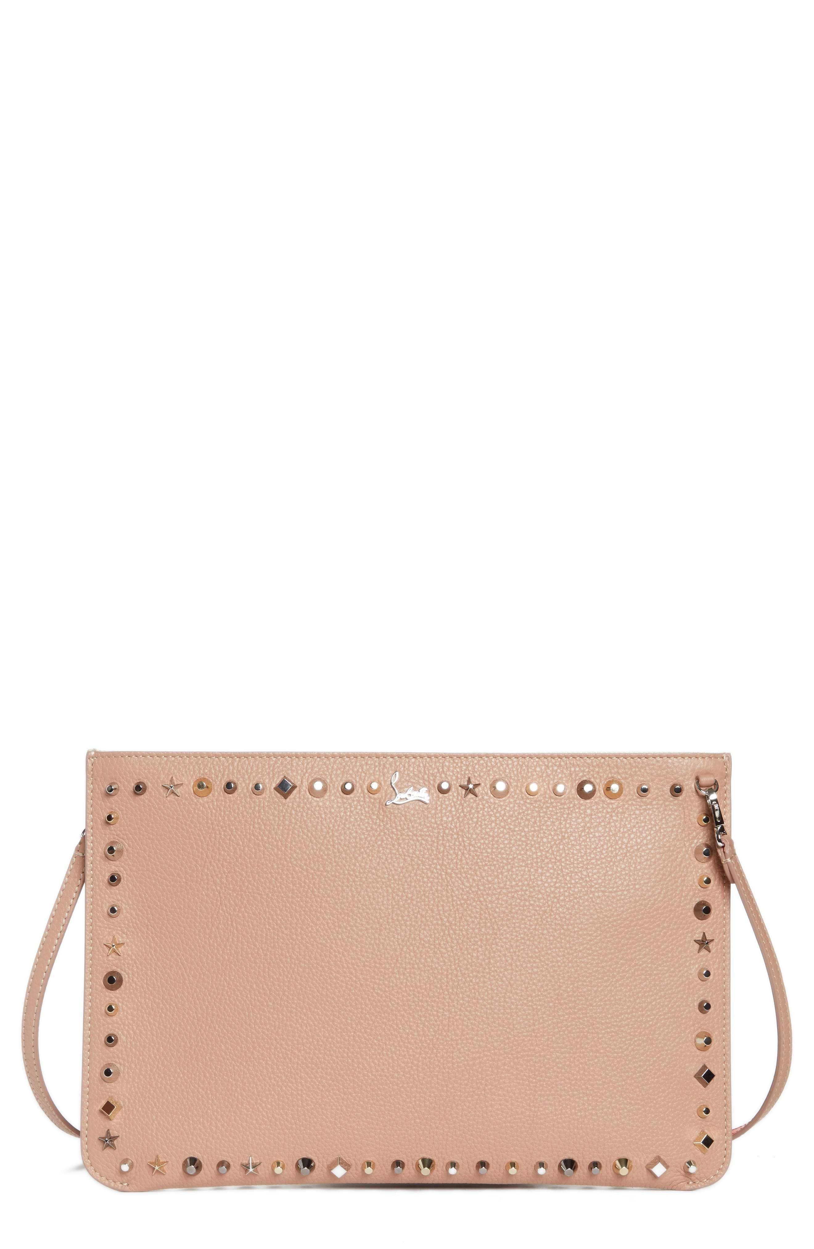 Loubiclutch Spiked Leather Clutch,                         Main,                         color, Nude/ Multimetal