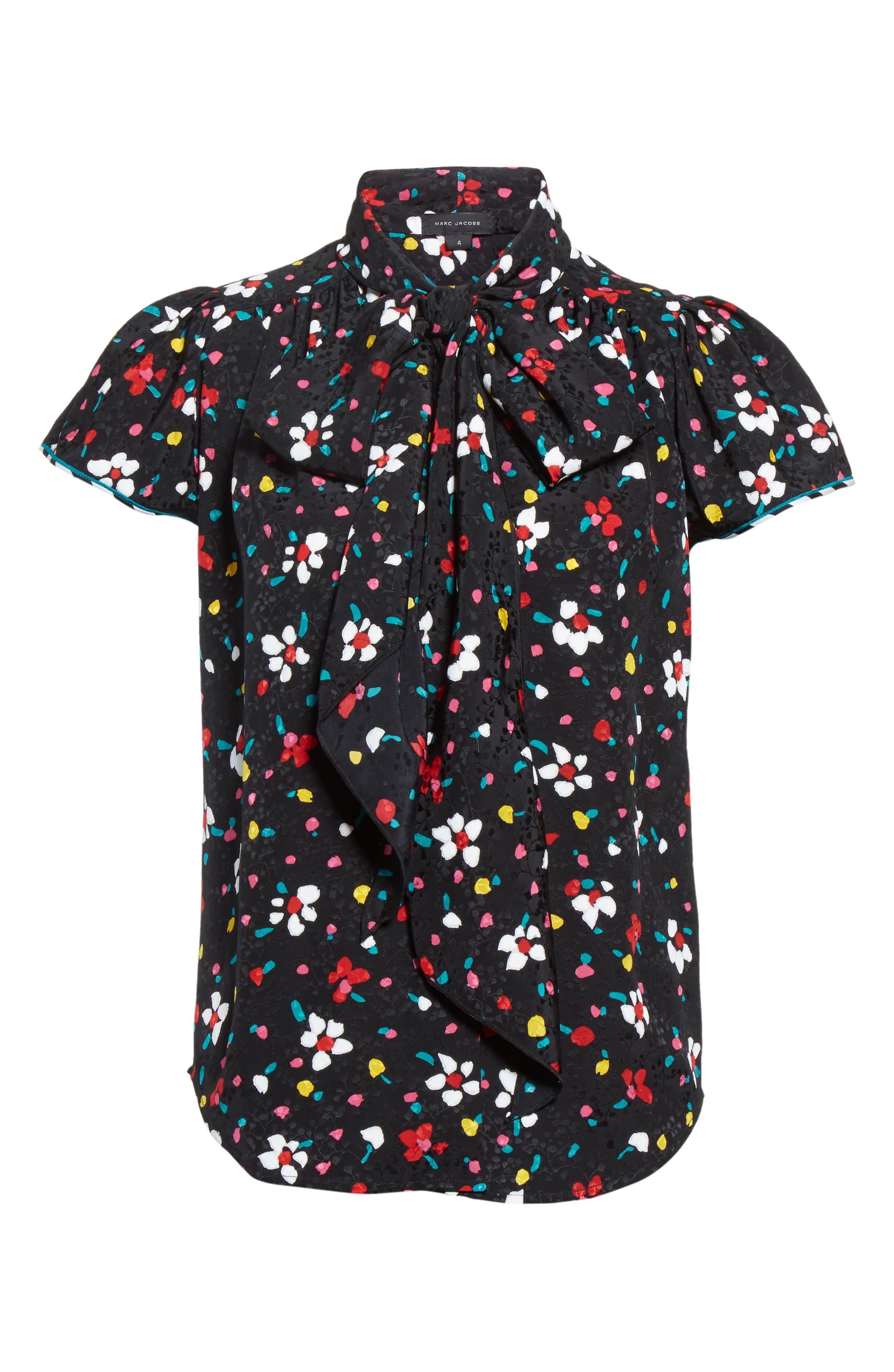 Floral Silk Jacquard Blouse,                             Alternate thumbnail 4, color,                             Black Multi