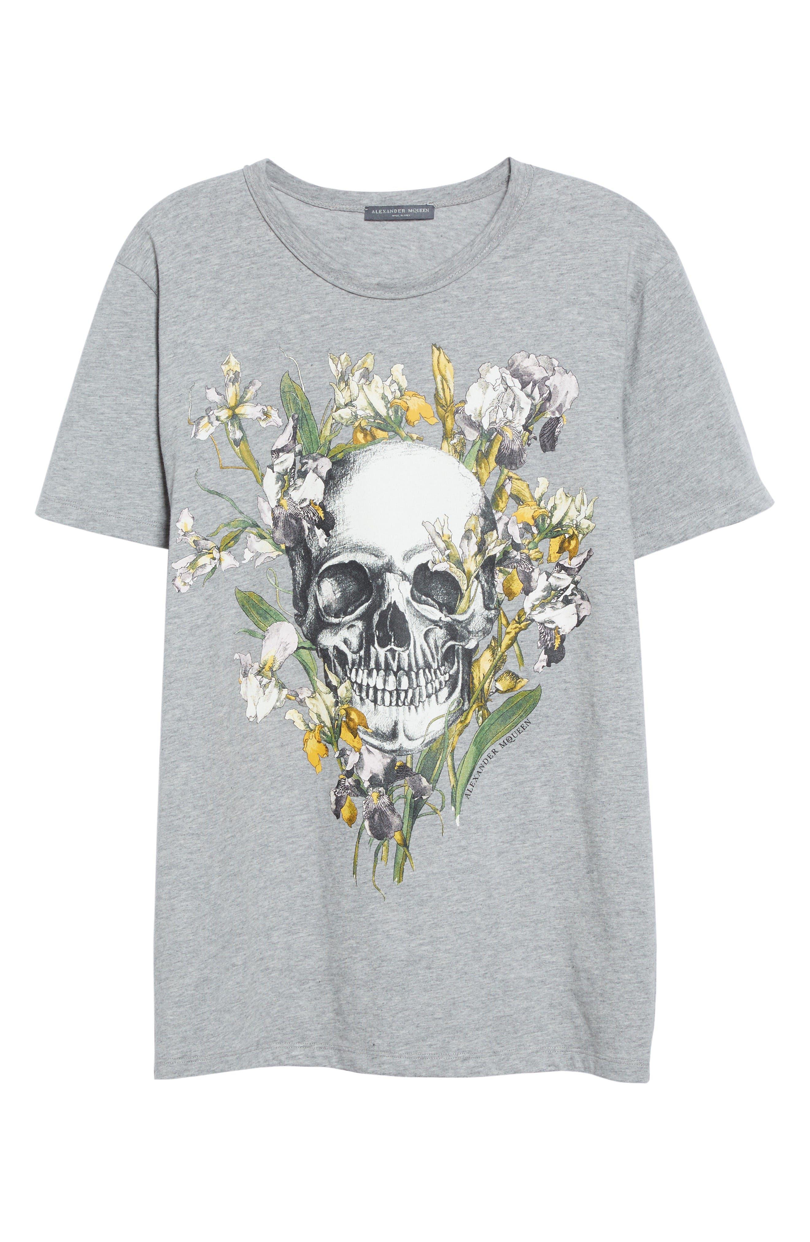 Skull & Iris Graphic Tee,                             Alternate thumbnail 4, color,                             Grey Melange