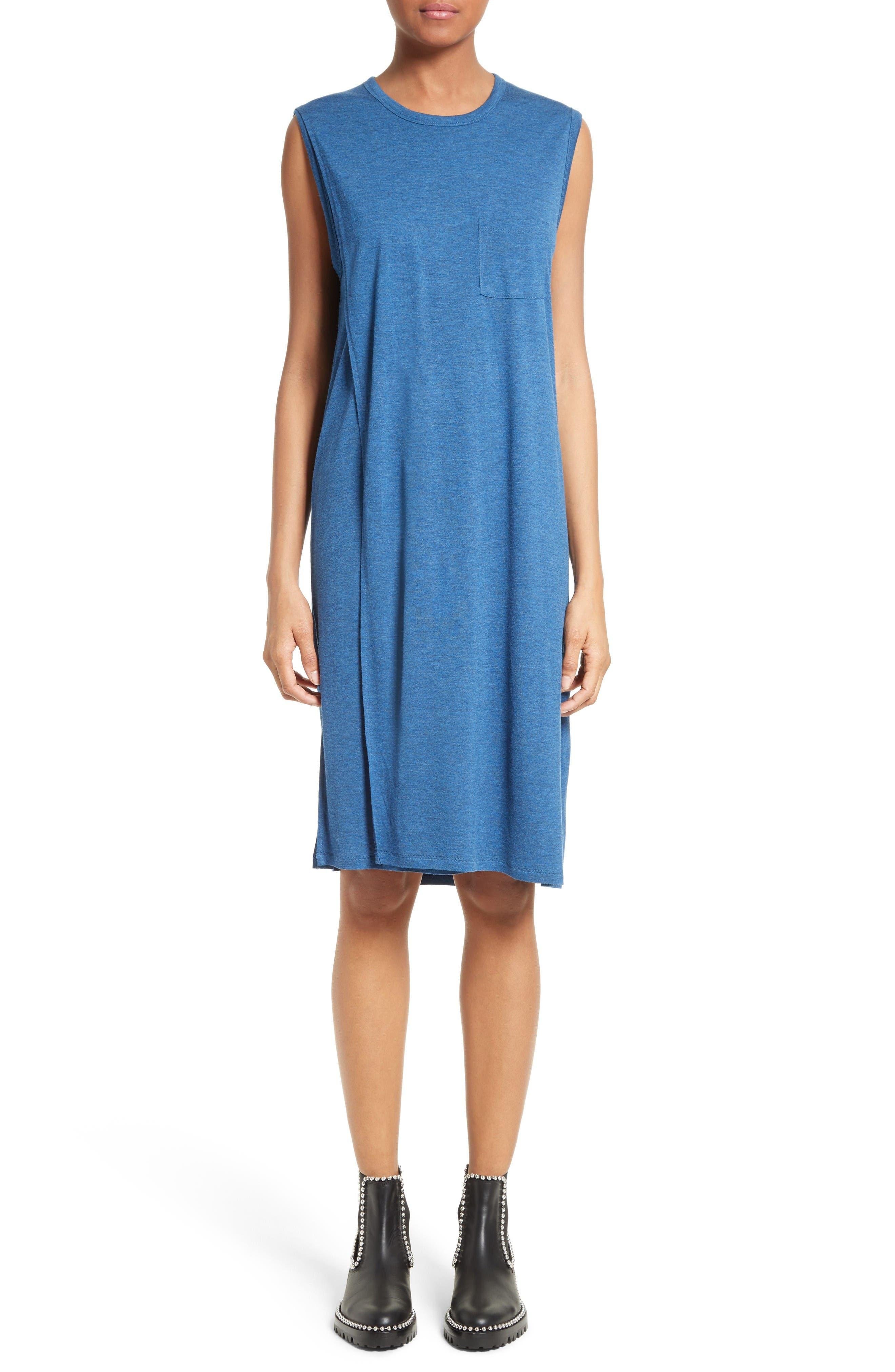 Overlap T-Shirt Dress,                         Main,                         color, Heather Ocean