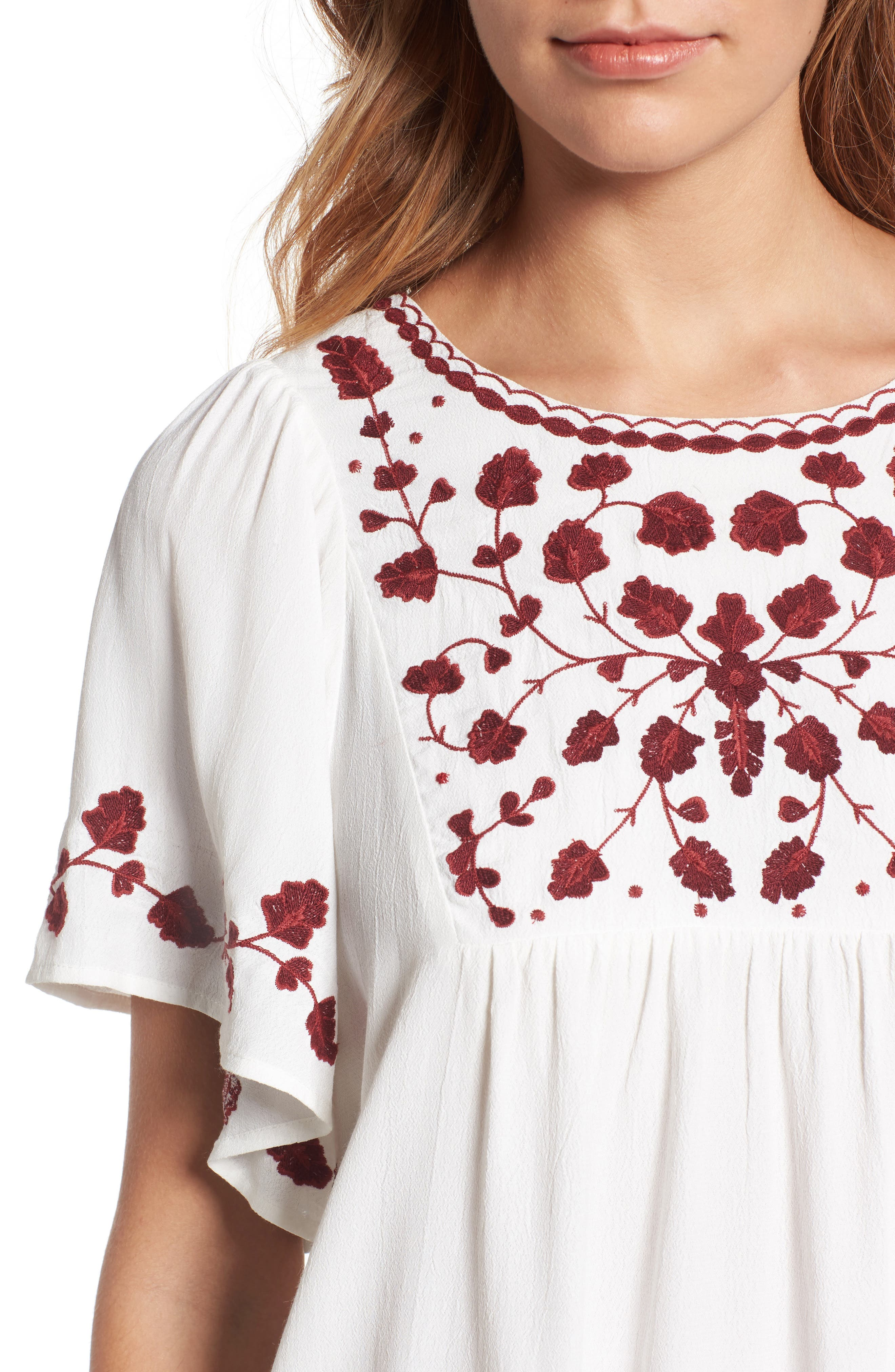 Alternate Image 4  - Lucky Brand Hannah Embroidered Peasant Top