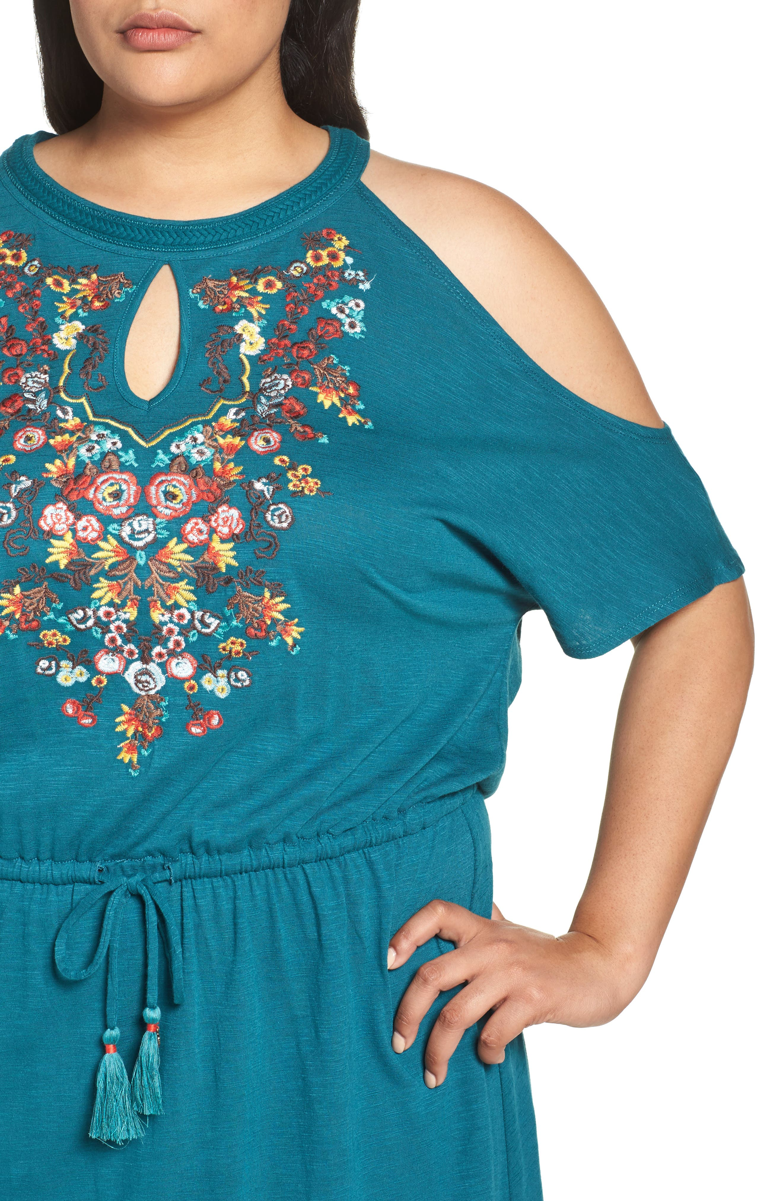 Embroidered Blouson Cold Shoulder Dress,                             Alternate thumbnail 4, color,                             Lake Green