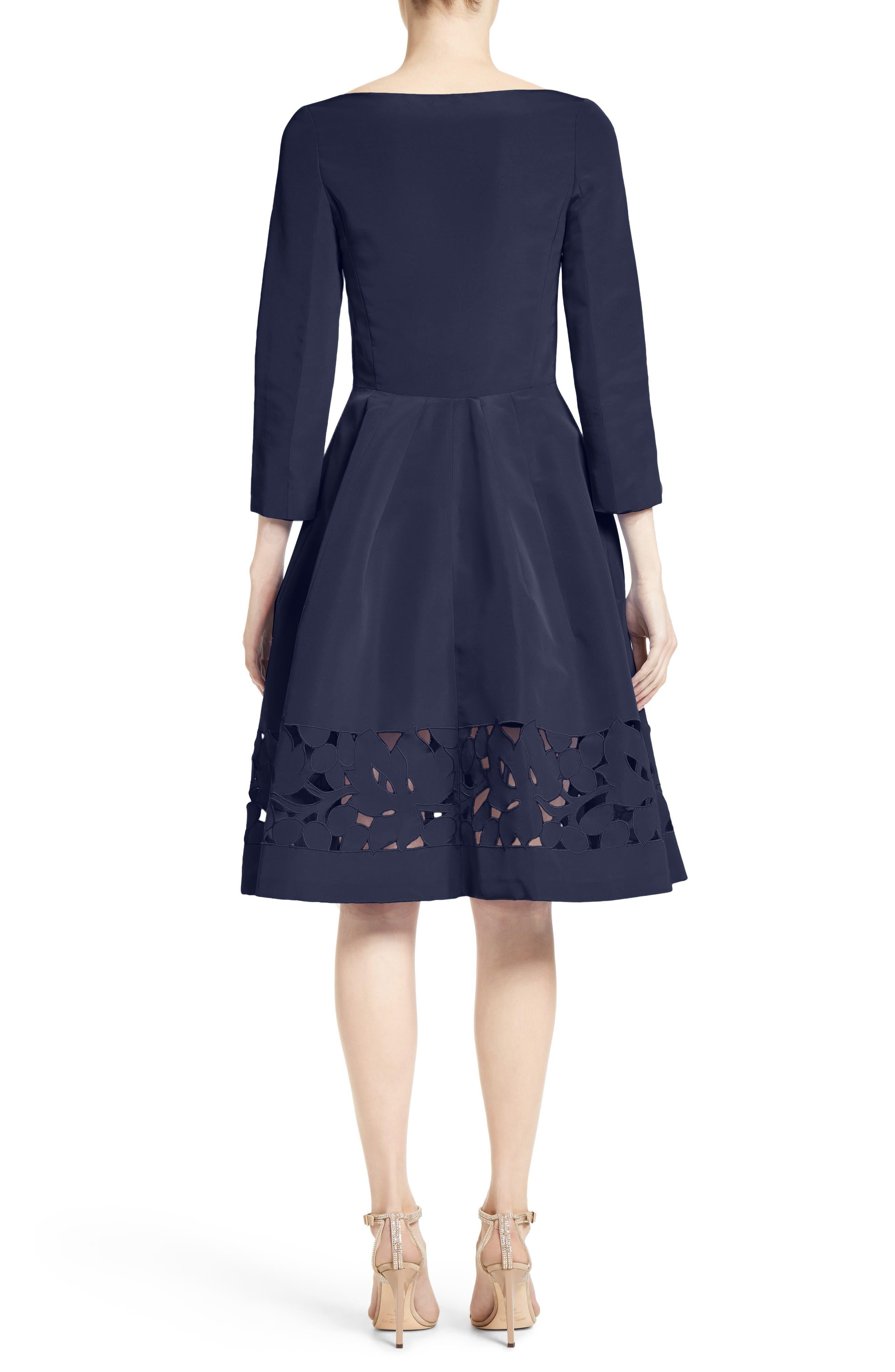 Alternate Image 2  - Carolina Herrerra Laser Cut Eyelet Button Front Dress