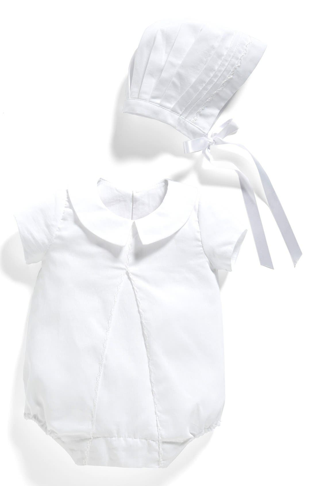 'Joseph' Bubble Romper & Bonnet,                         Main,                         color, White