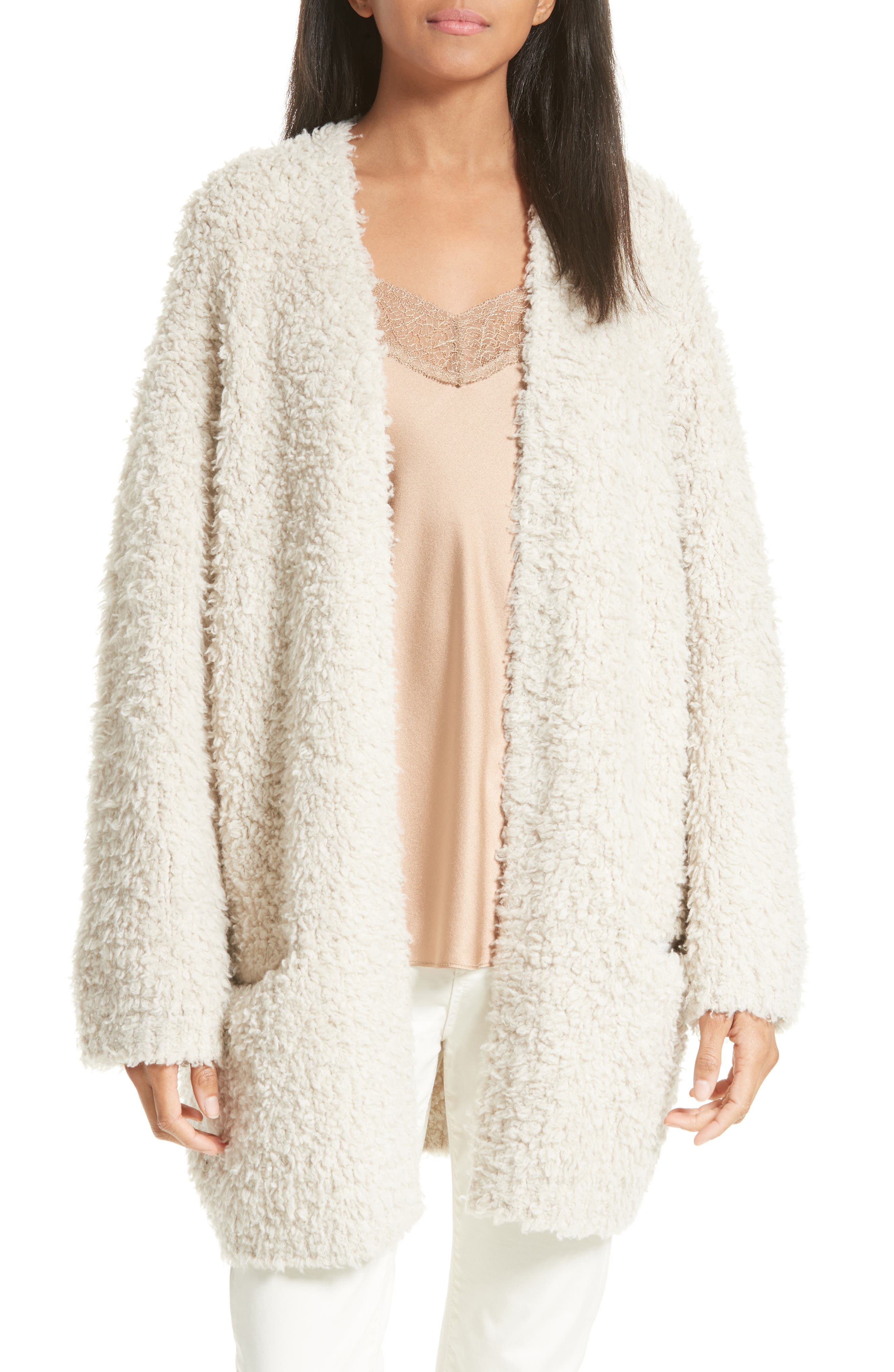 Vince Wool Blend Teddy Cardigan