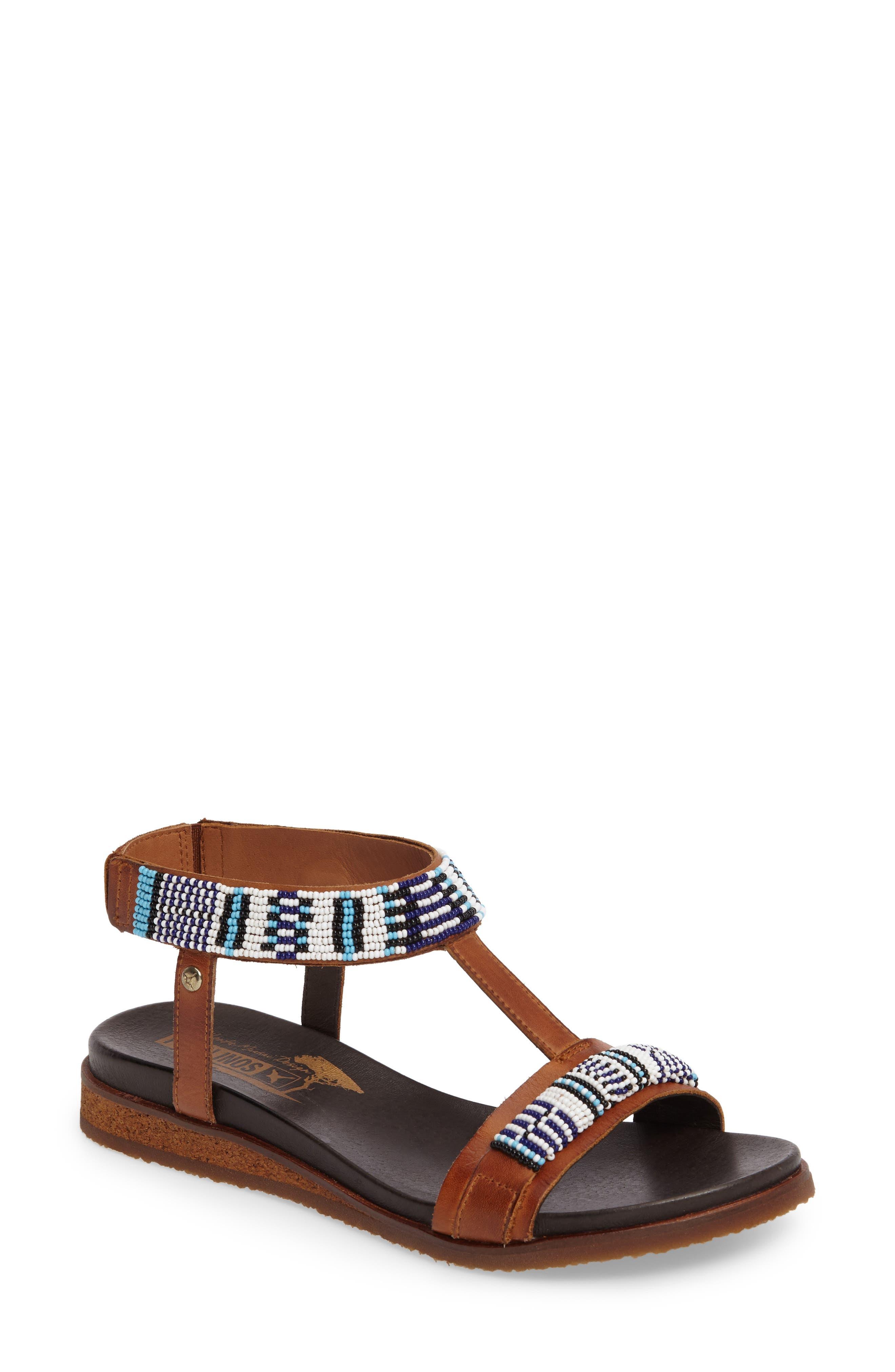 Antillas Beaded Sandal,                         Main,                         color, Brandy Leather