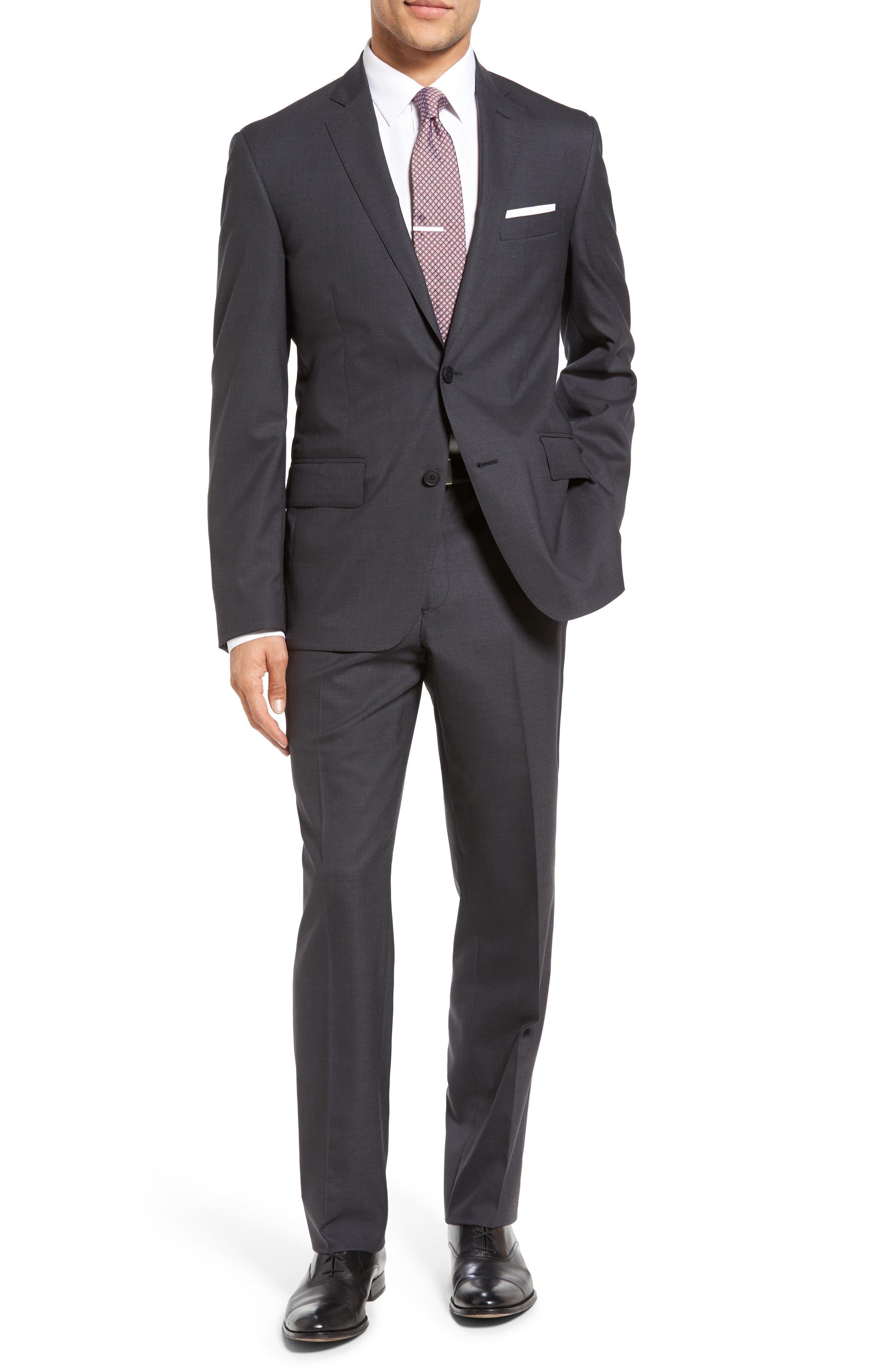 Nordstrom Men's Shop Tech-Smart Trim Fit Solid Stretch Wool Travel Suit