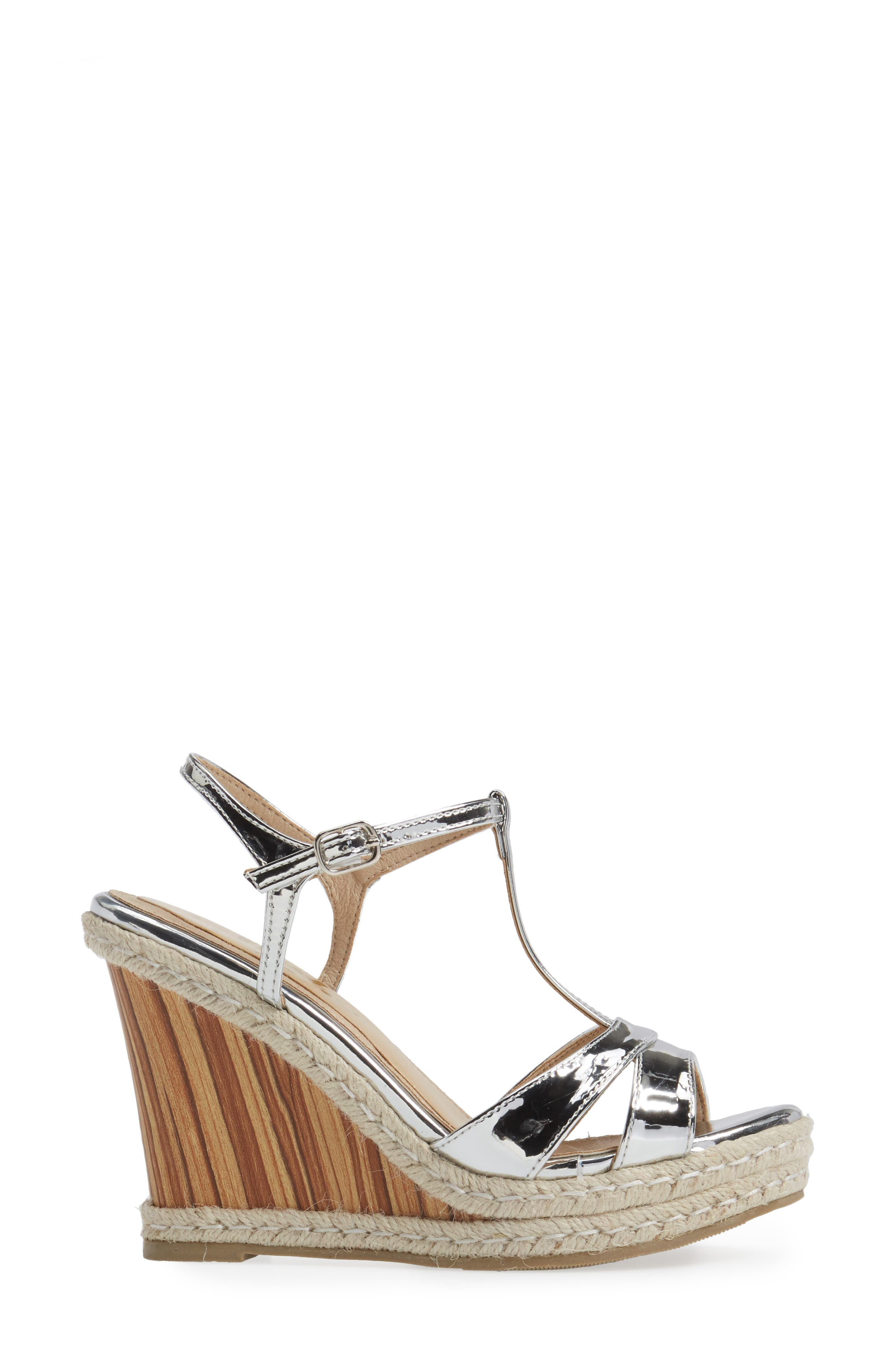 Alinna T-Strap Wedge Sandal,                             Alternate thumbnail 3, color,                             Silver Faux Leather