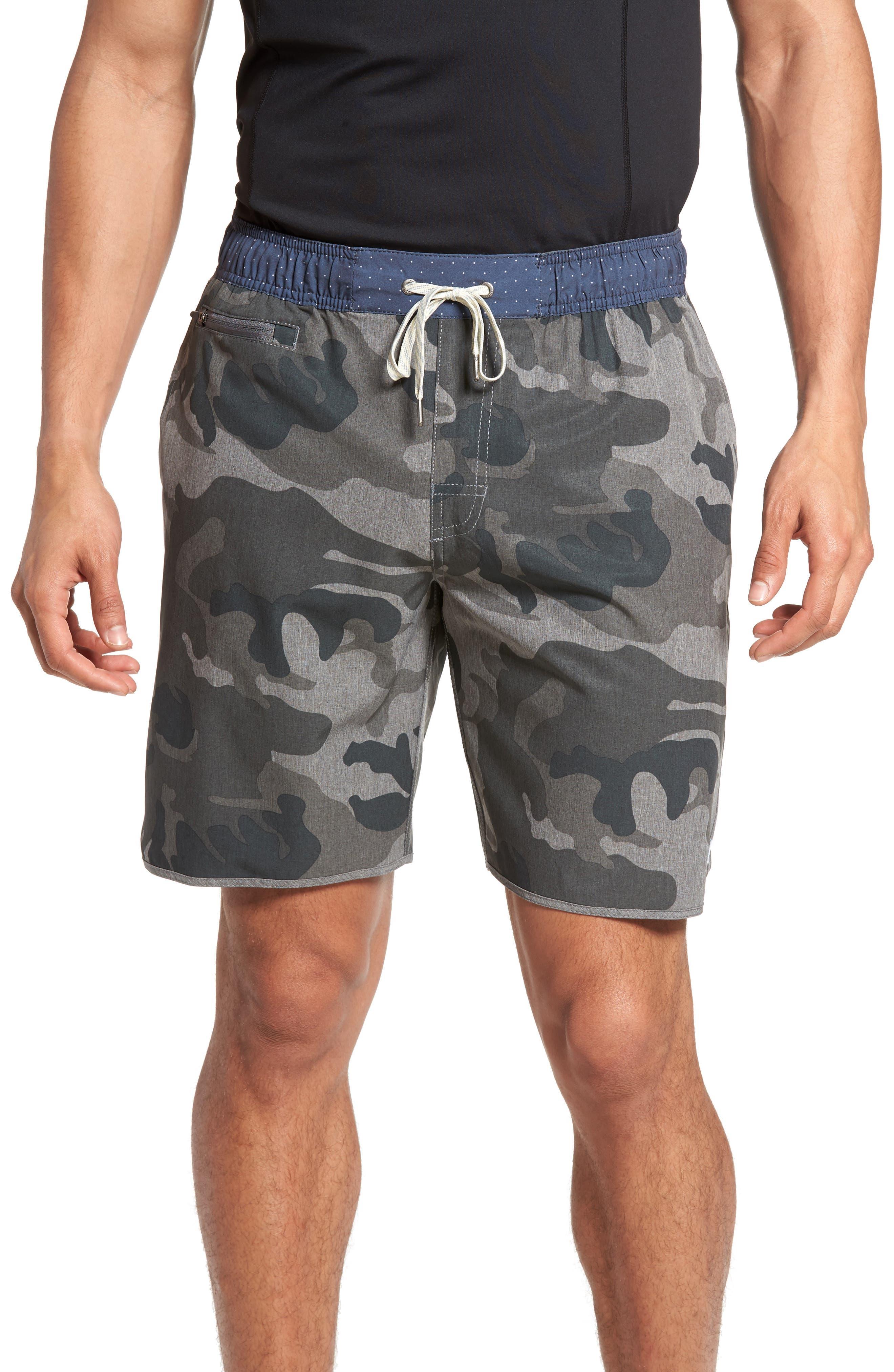 Banks Performance Hybrid Shorts,                         Main,                         color, Camo Grey