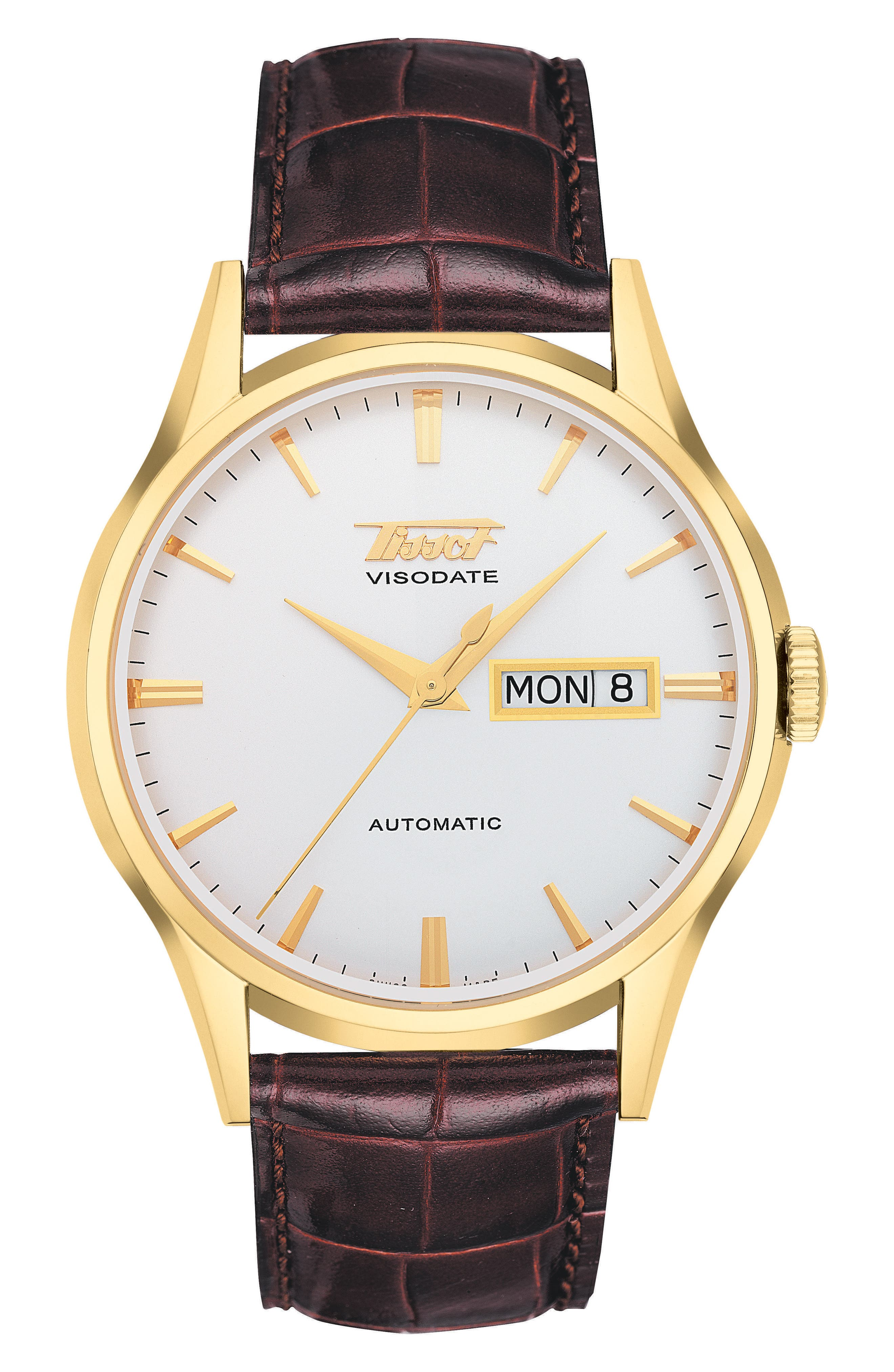 Heritage Visodate Automatic Watch, 40mm,                         Main,                         color, Brown/ White/ Gold