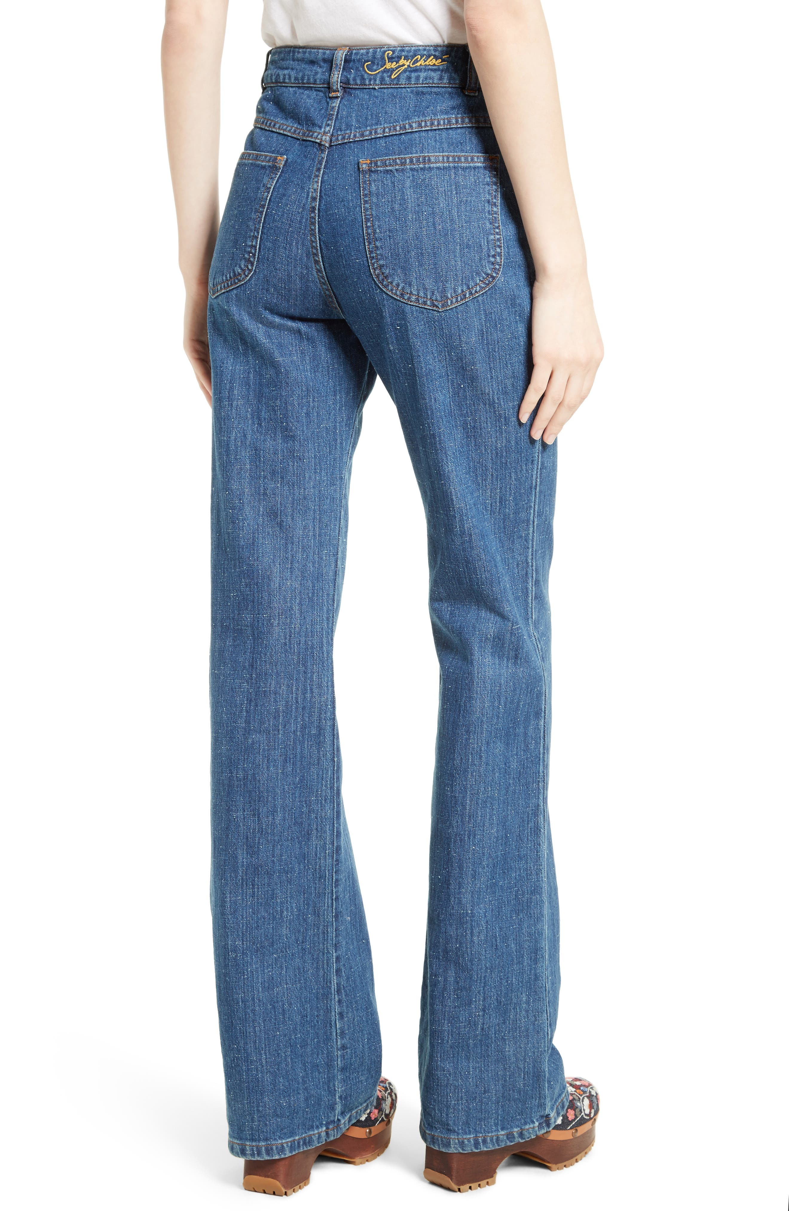 Alternate Image 3  - See by Chloé Wide Leg Denim Trousers