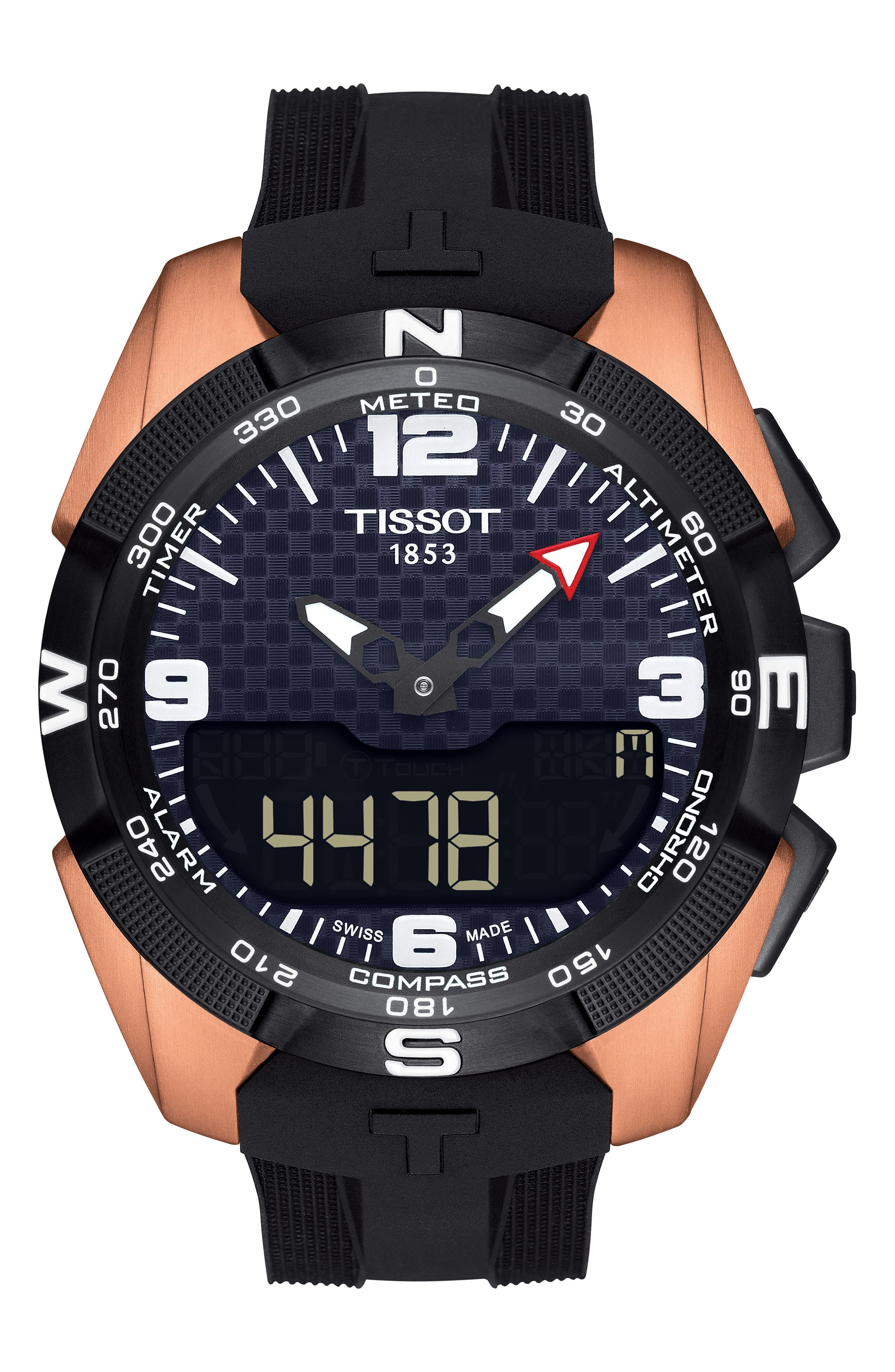 T-Touch Expert Solar Multifunction Smartwatch, 45mm,                             Main thumbnail 1, color,                             Black/ Rose Gold