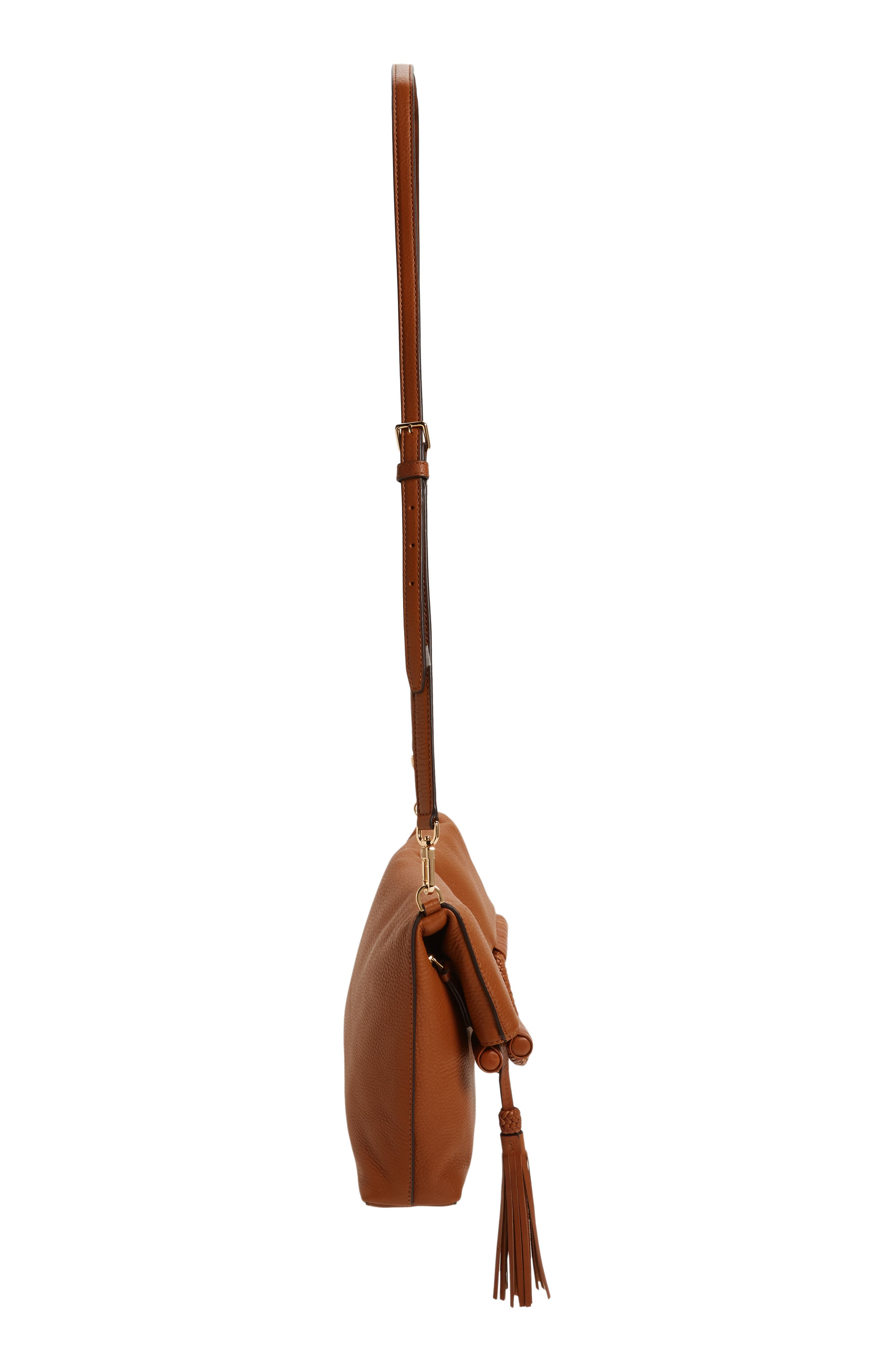 Convertible Leather Crossbody Bag,                             Alternate thumbnail 5, color,                             Saddle