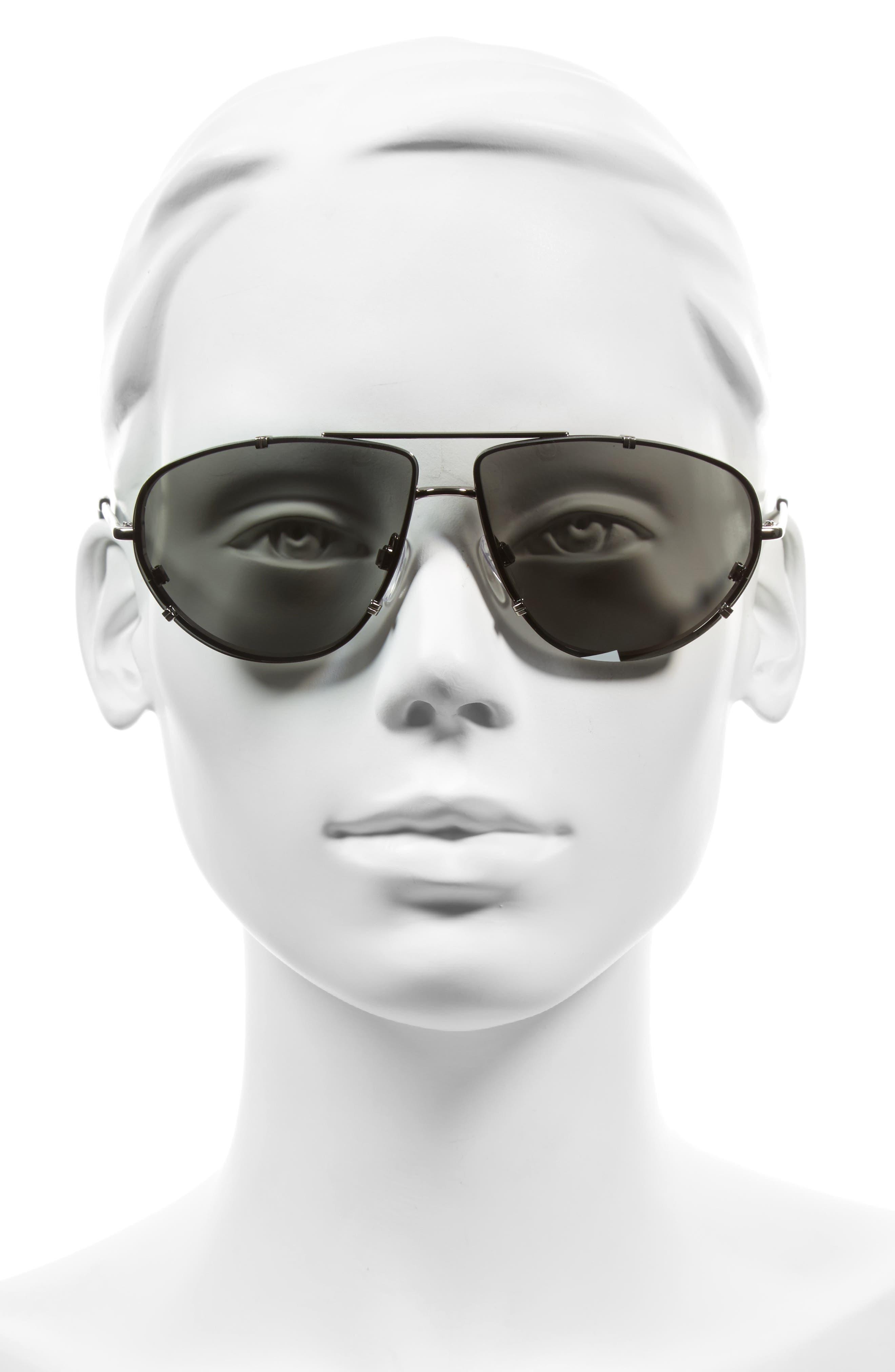 62mm Aviator Sunglasses,                             Alternate thumbnail 2, color,                             Ruthenium/ Black/ Smoke Mirror