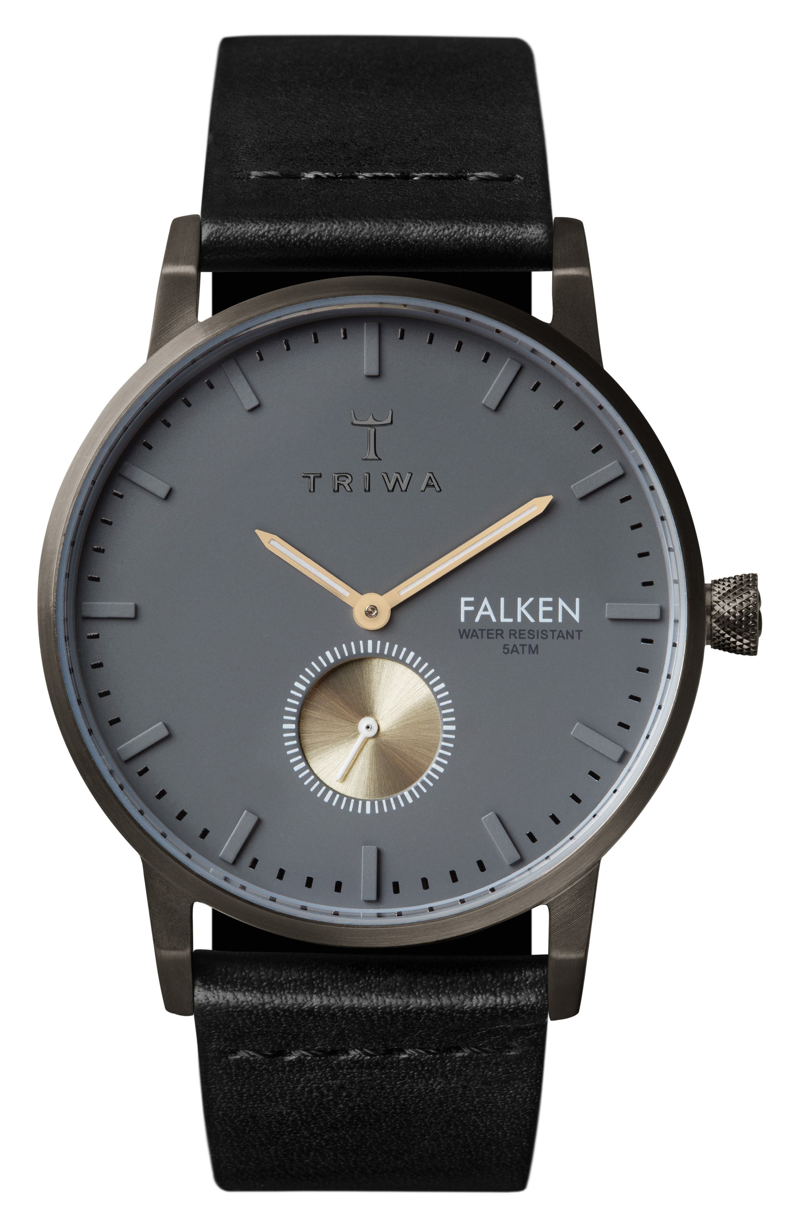 Walter Falken Organic Leather Strap Watch, 38mm,                         Main,                         color, Black/ Grey/ Gunmetal