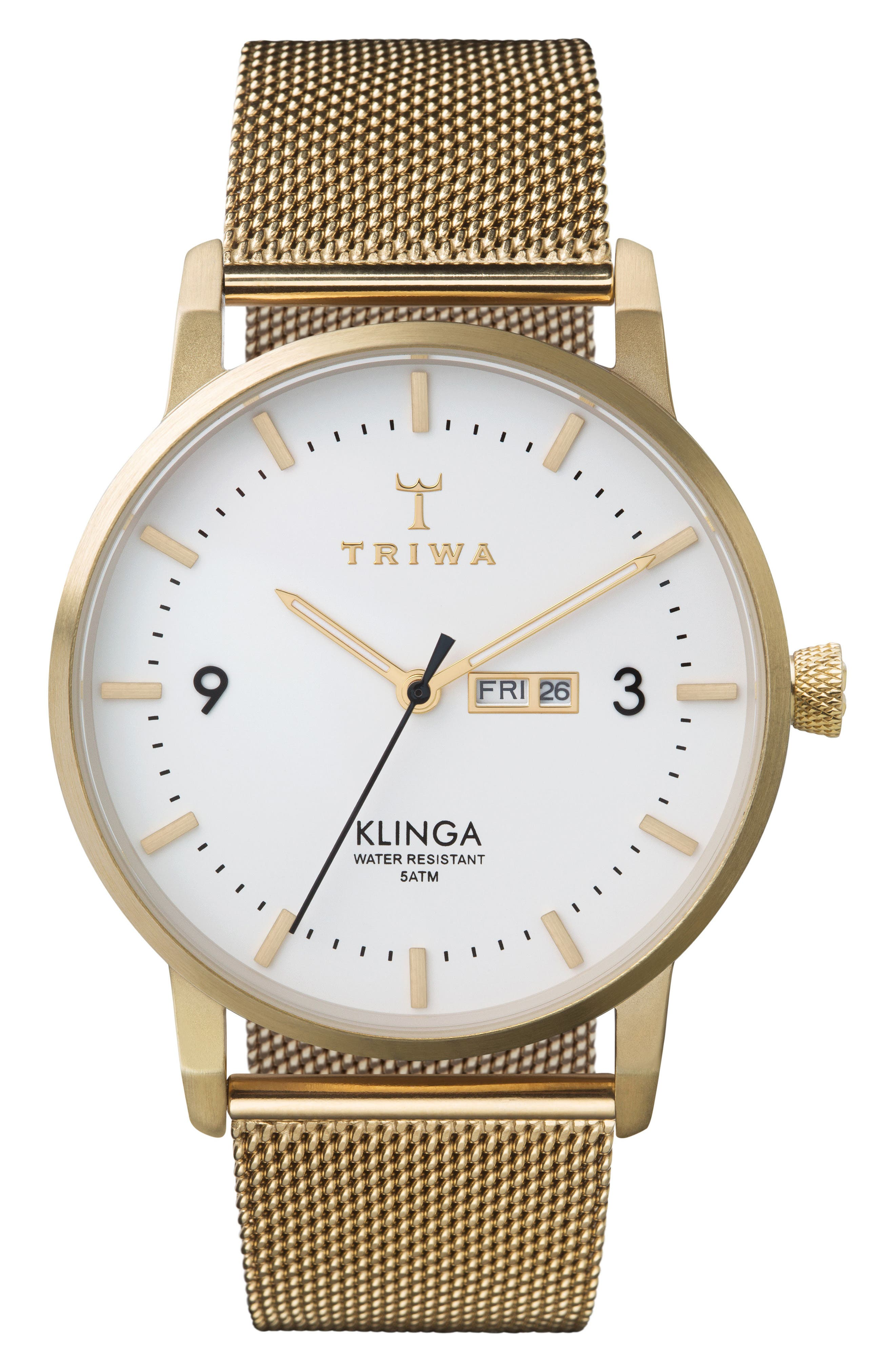Ivory Klinga Gold Mesh Strap Watch, 38mm,                         Main,                         color, Gold/ White/ Gold