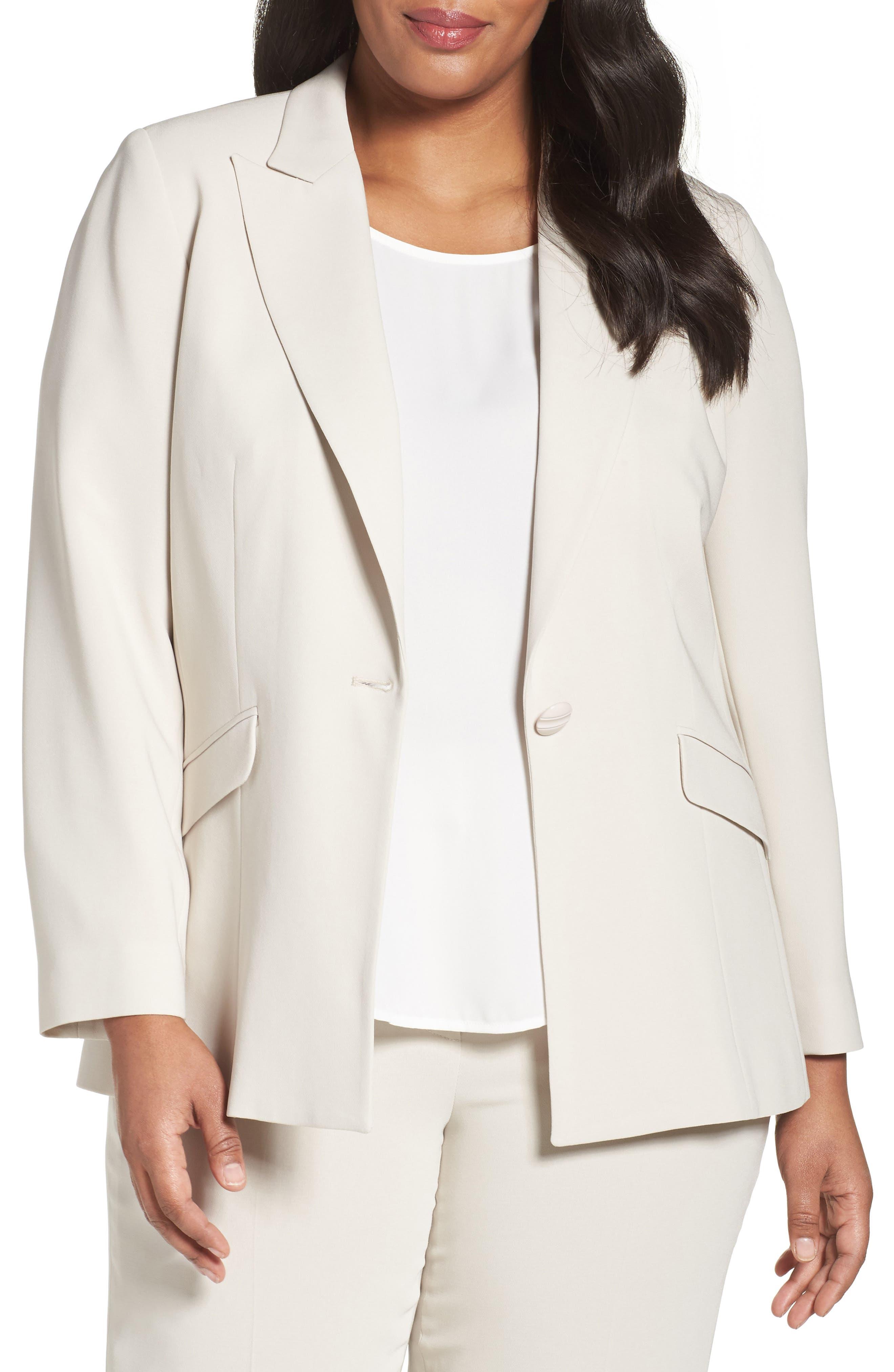 Louben Peak Lapel Suit Jacket (Plus Size)