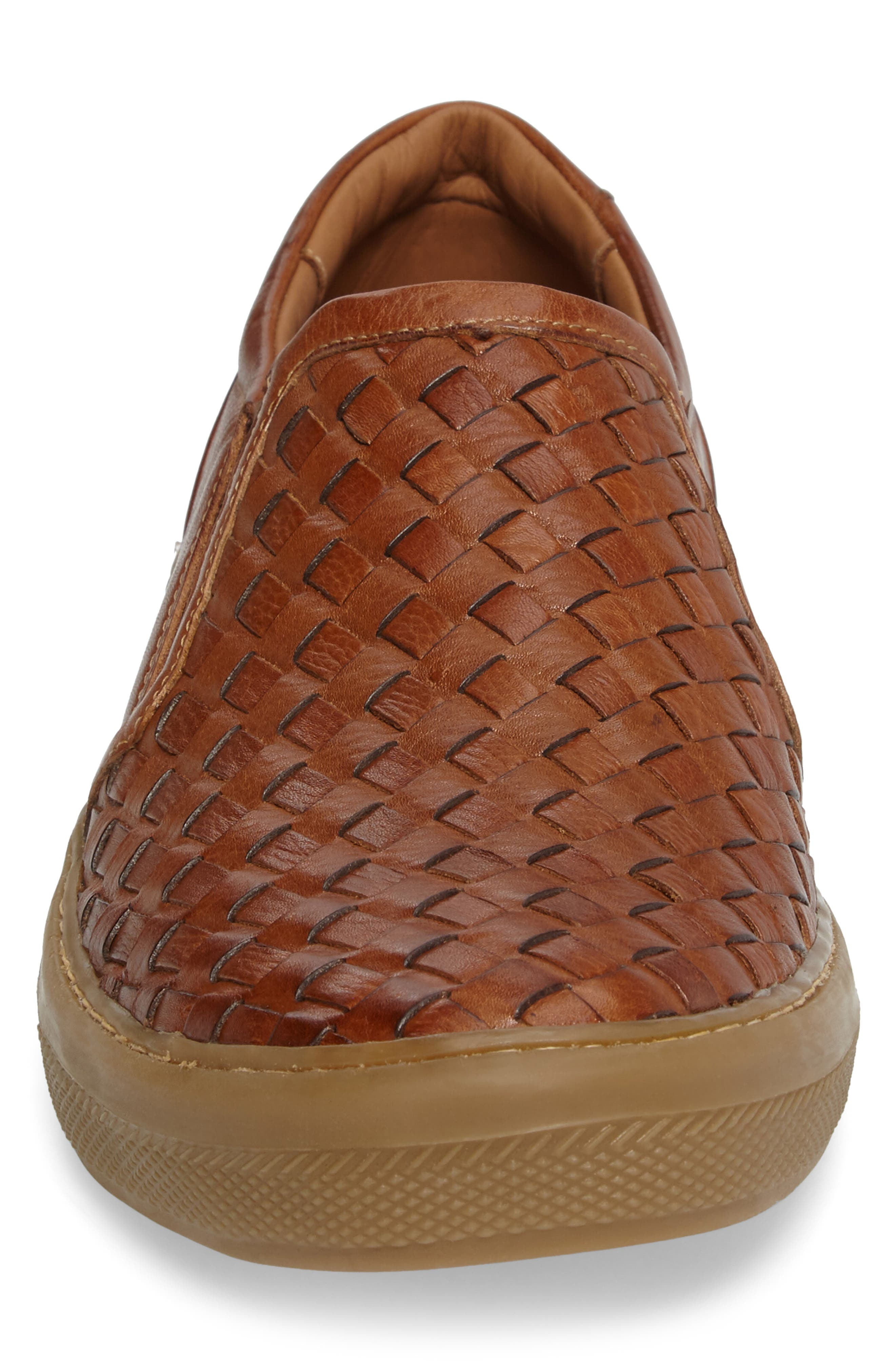 Bastos Woven Slip-On,                             Alternate thumbnail 4, color,                             Cognac Leather