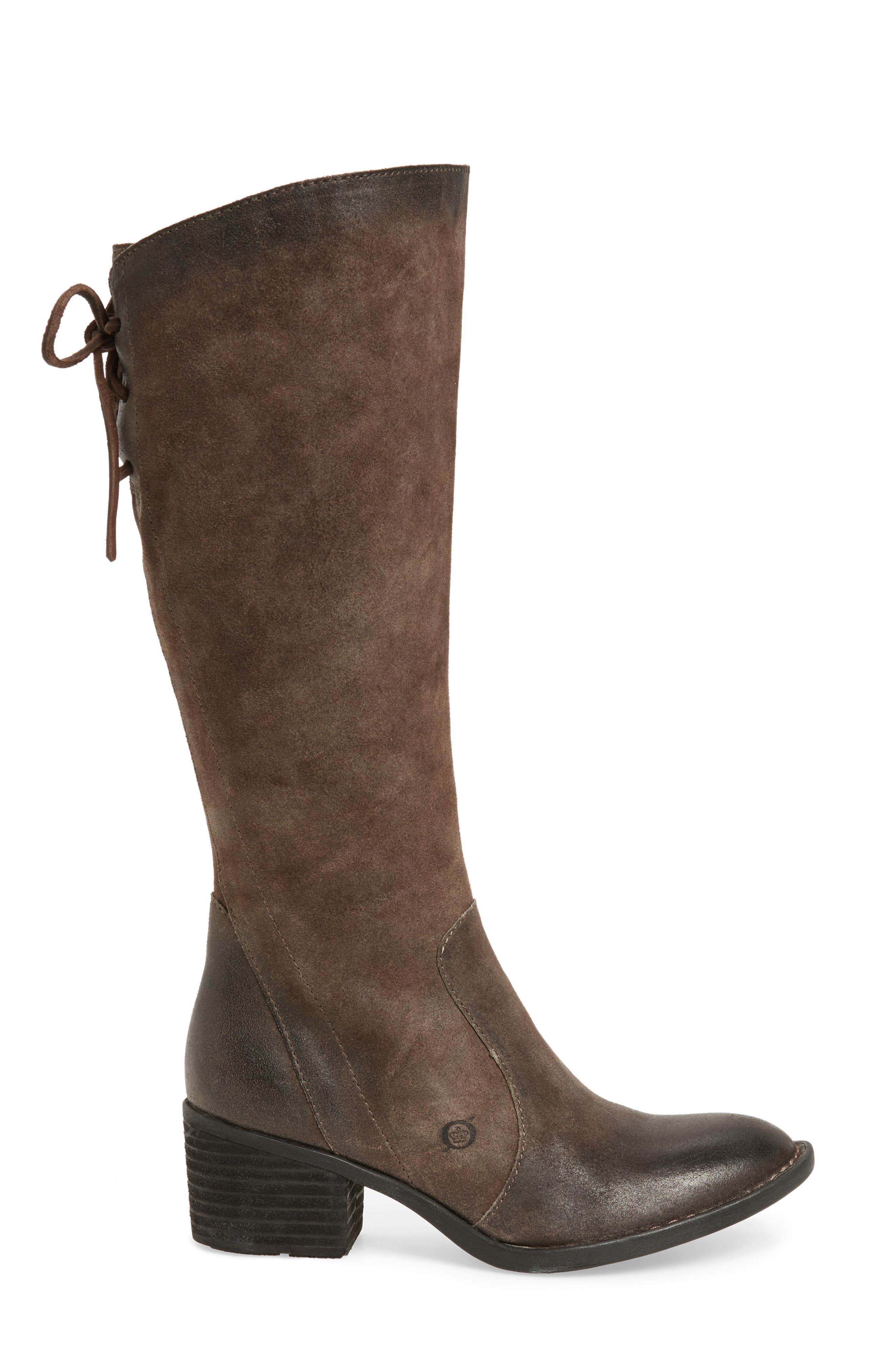 Felicia Knee High Boot,                             Alternate thumbnail 3, color,                             Grey Distressed Leather