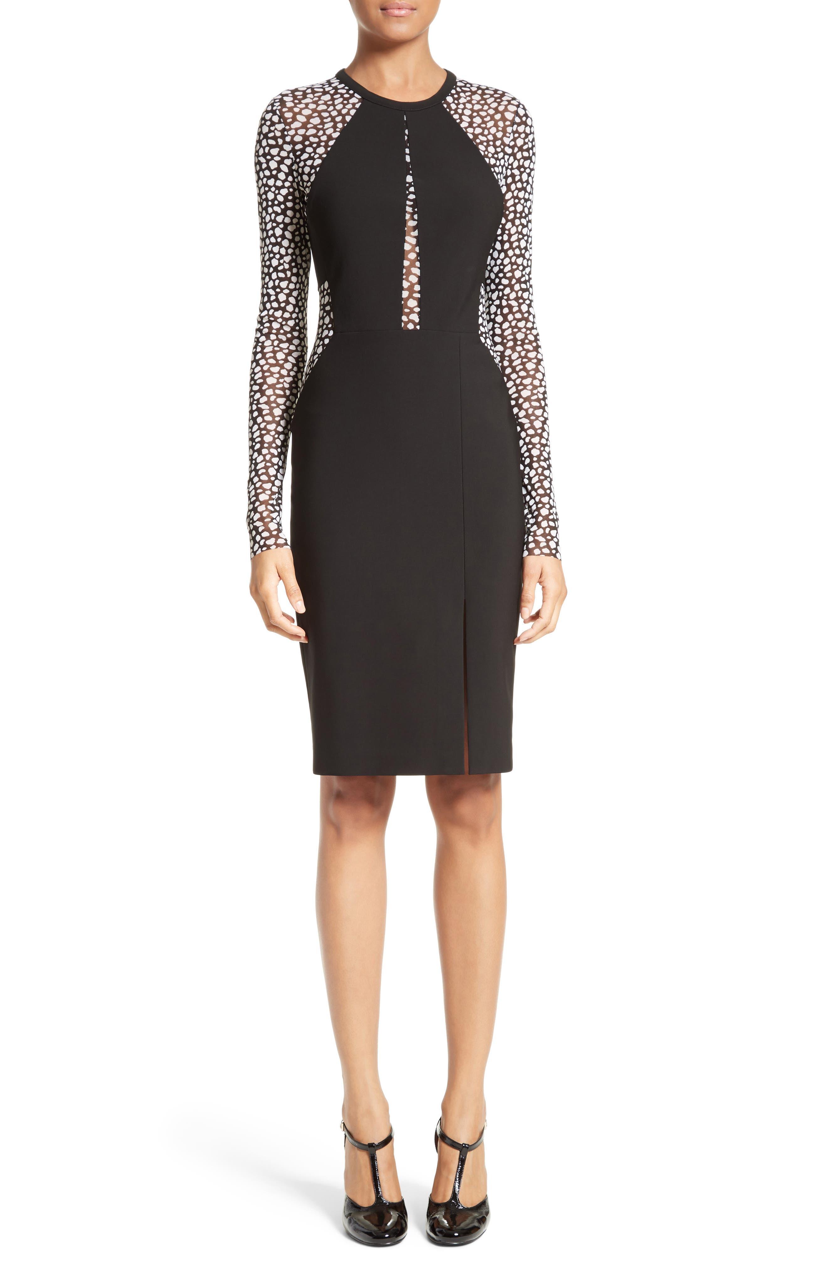 Yigal Azrouël Leopard Mesh Inset Dress